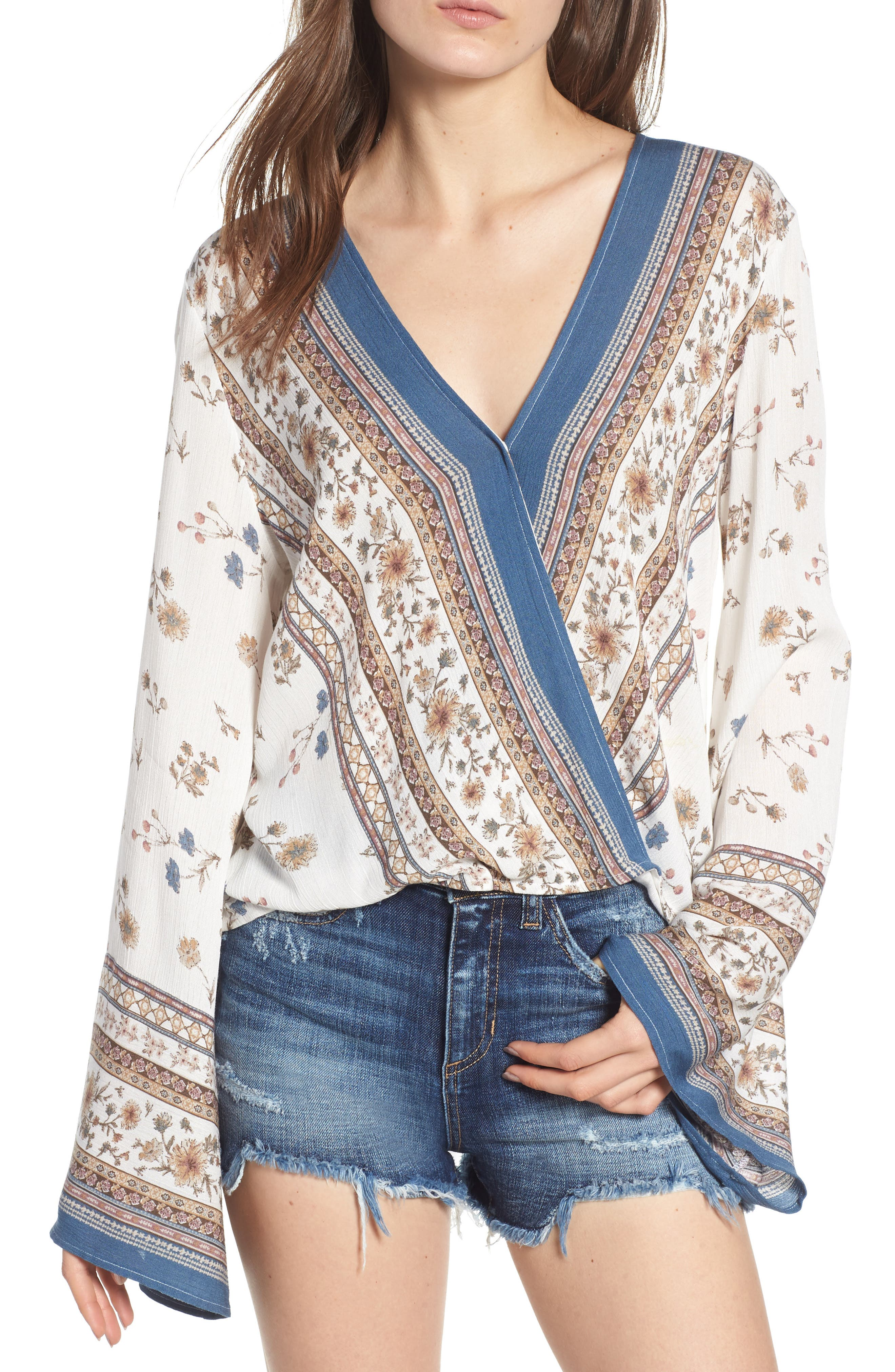 LOST AND WANDER LOST + WANDER TULUM PRINTED CROSSOVER TOP