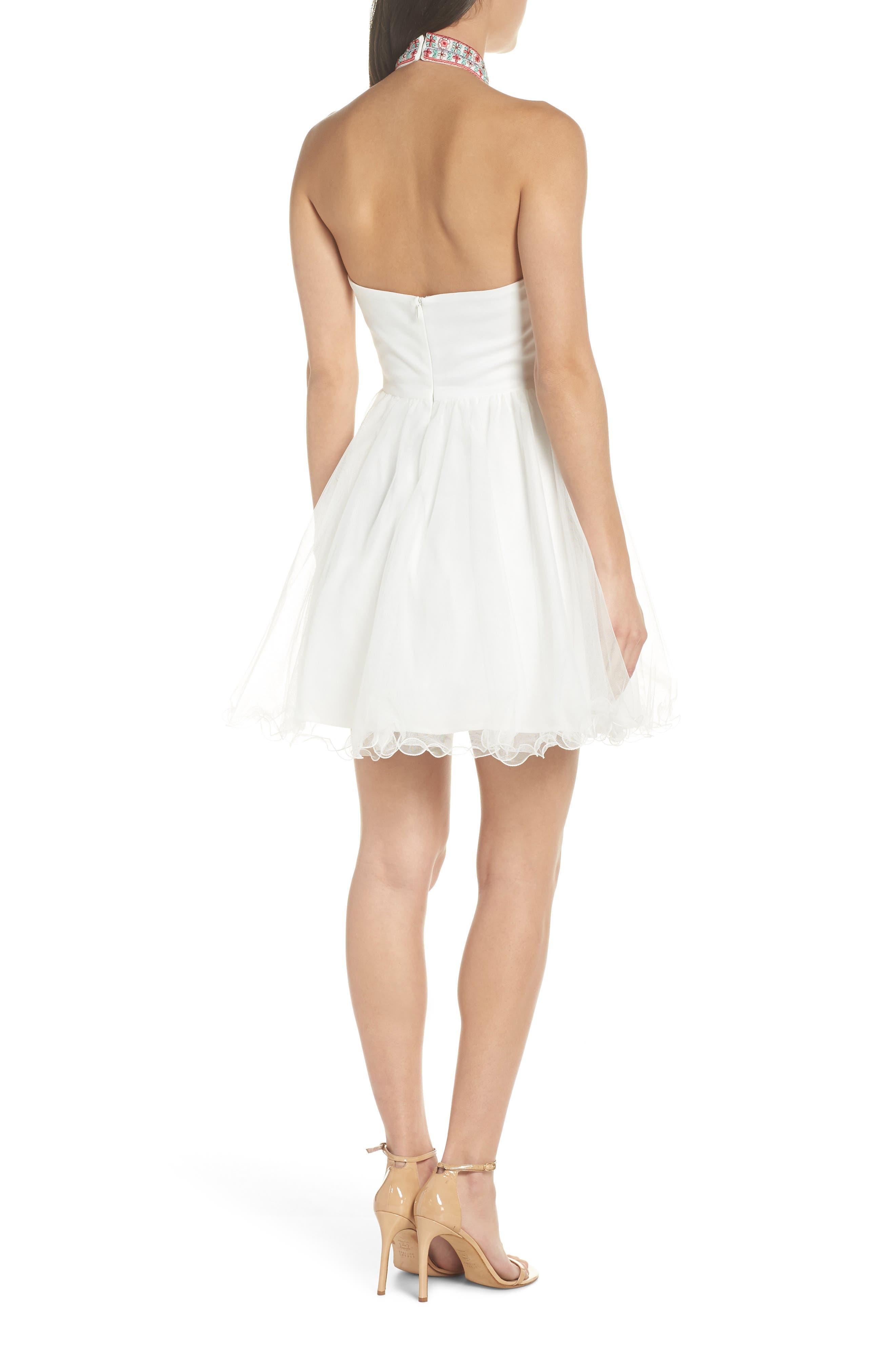 Embroidered Fit & Flare Halter Dress,                             Alternate thumbnail 2, color,                             Ivory/ Multi