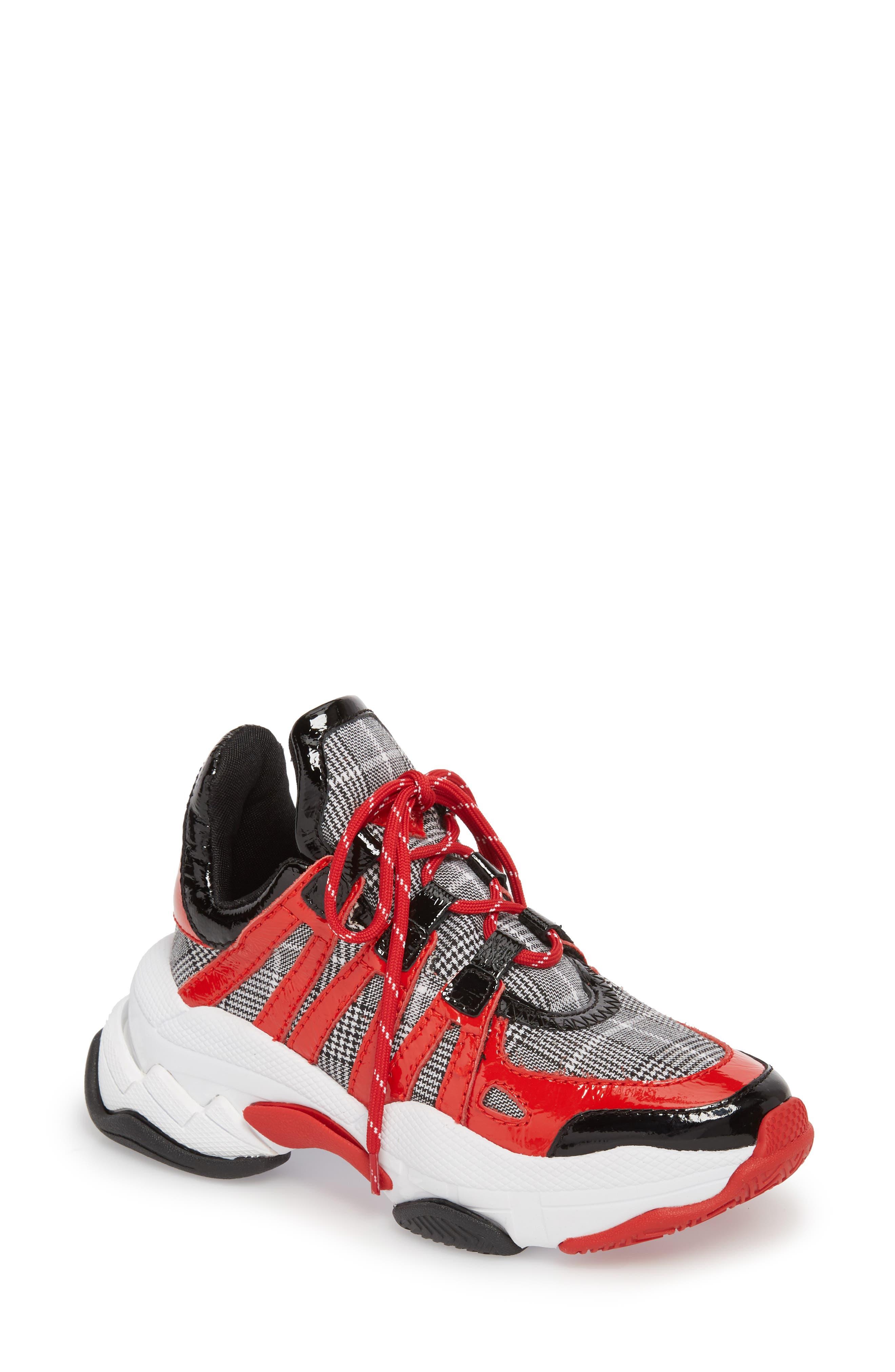 WiFi Sneaker,                             Main thumbnail 1, color,                             Red Pat Plaid Multi