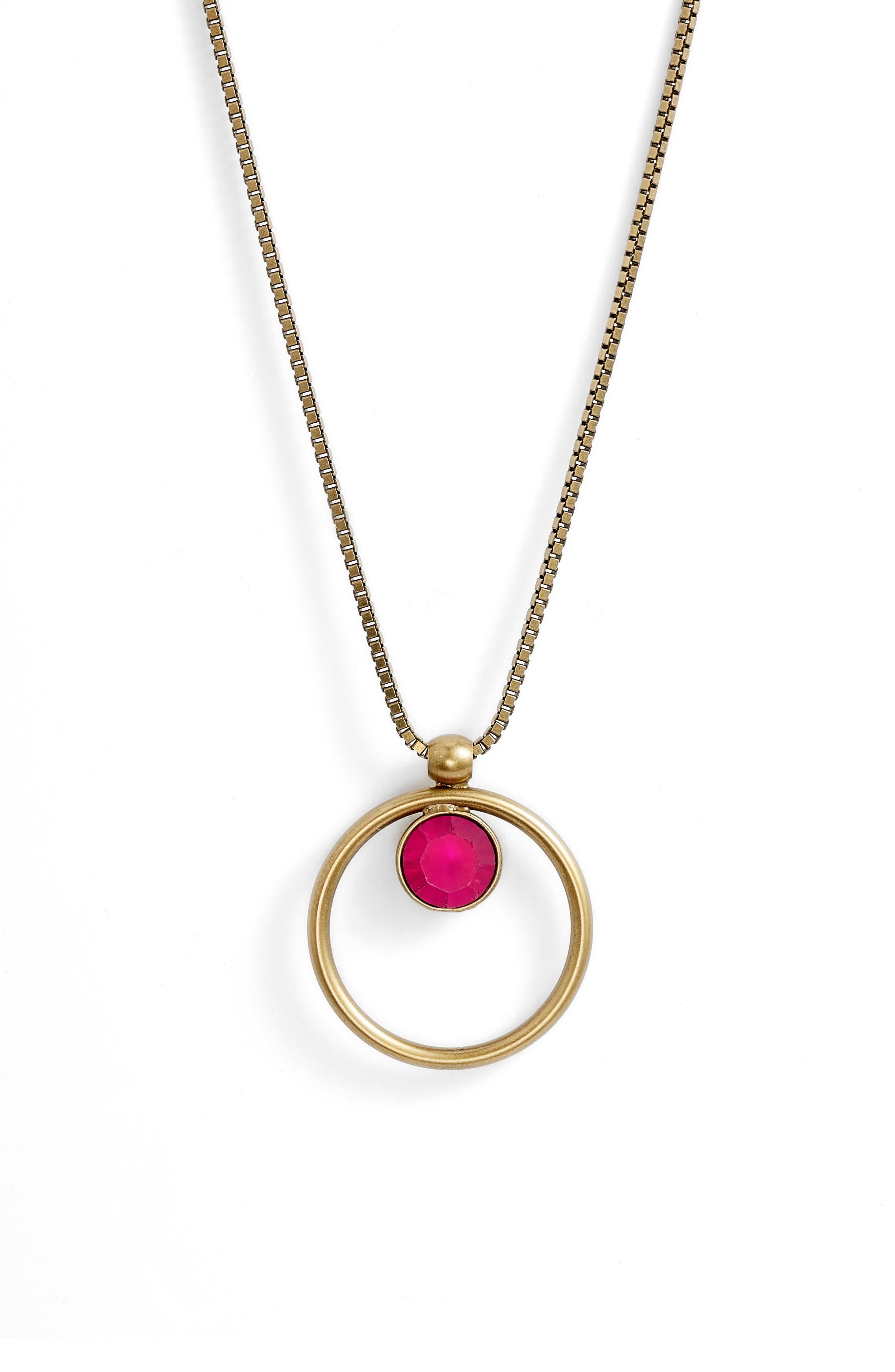 Cecilia Box Chain Necklace,                             Alternate thumbnail 2, color,                             Fuchsia