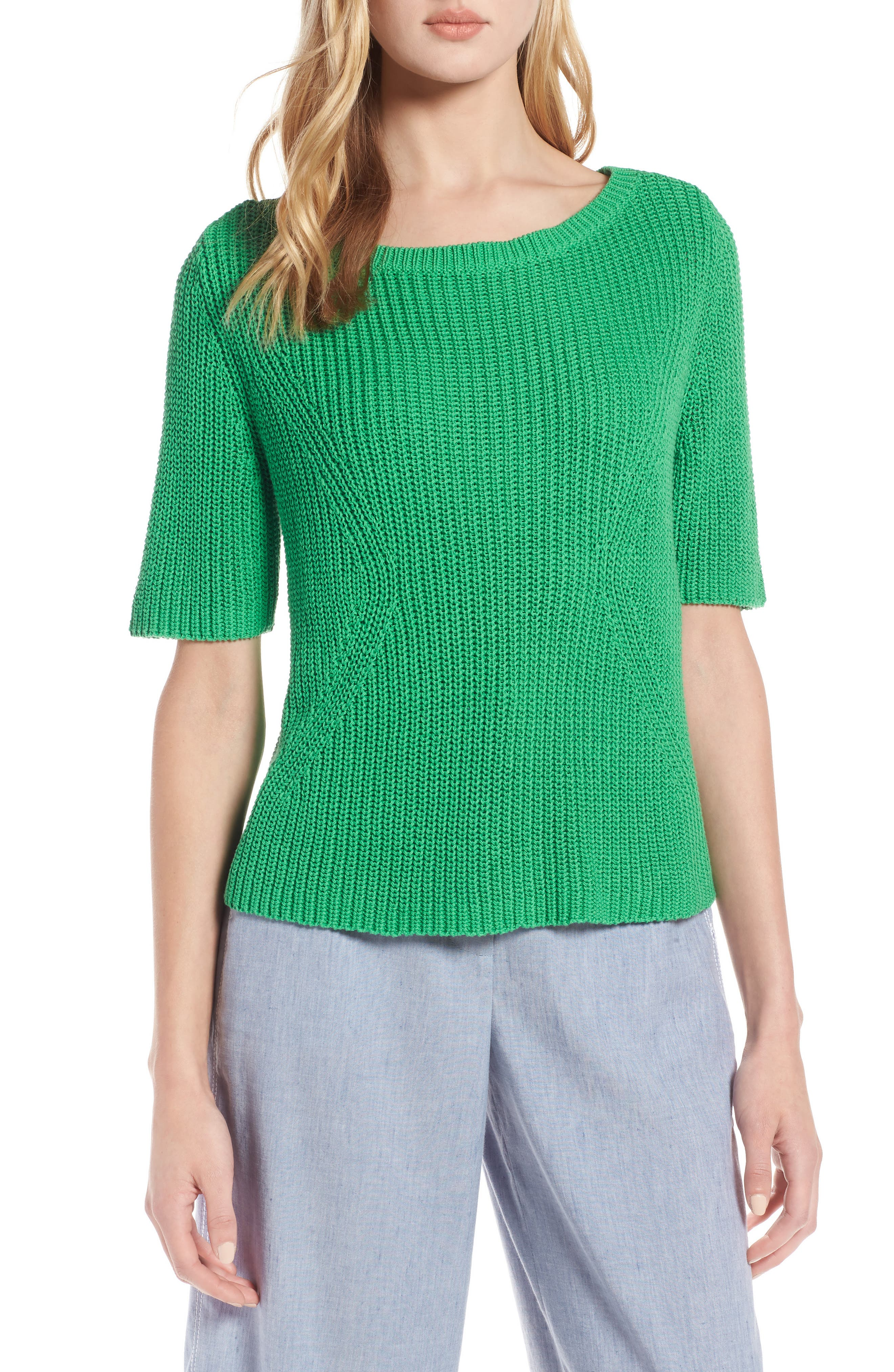 Shaker Stitch Cotton Sweater,                             Main thumbnail 1, color,                             Green Kelly