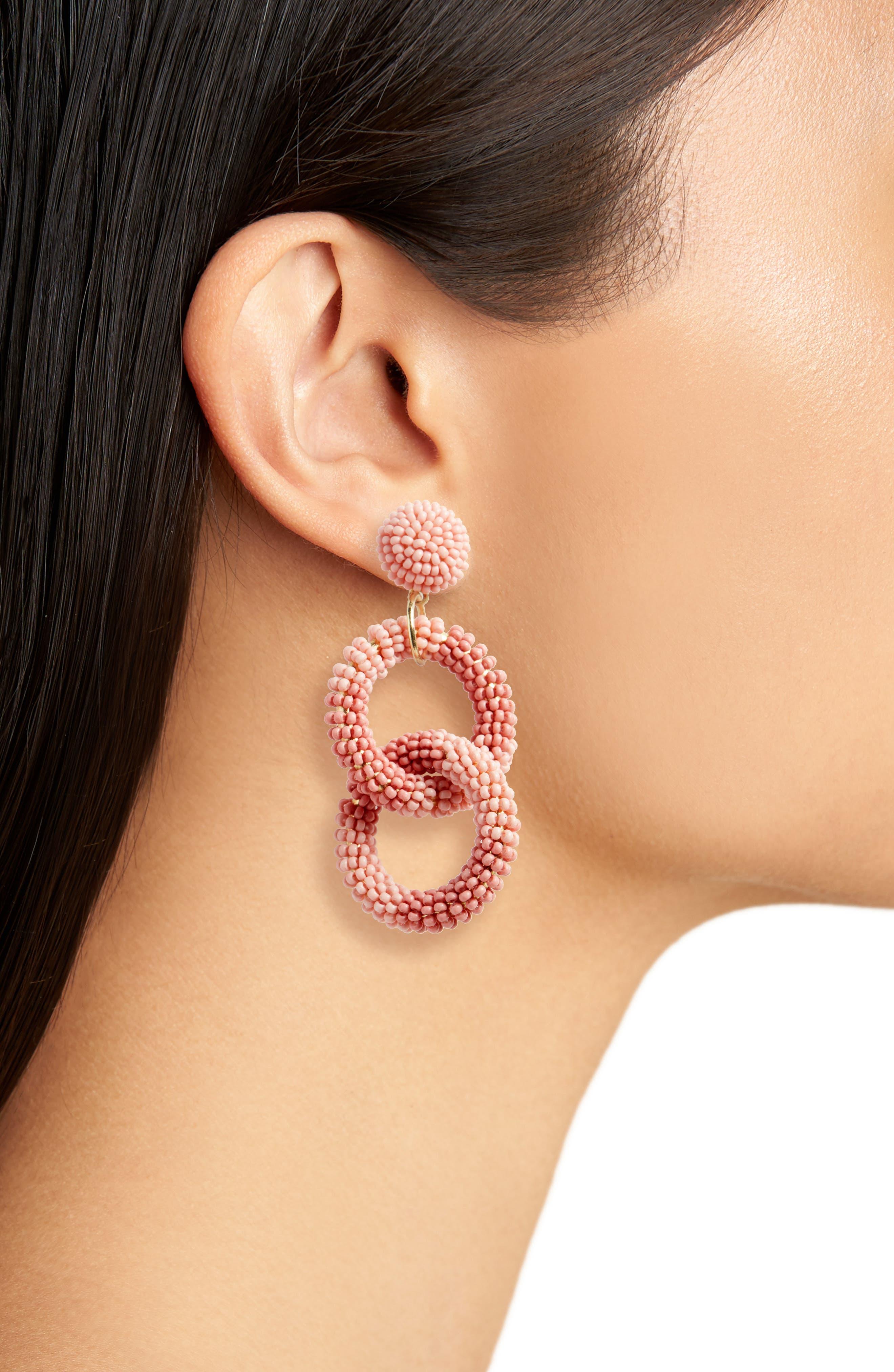 Beaded Circle Drop Earrings,                             Alternate thumbnail 2, color,                             Pink Tonal