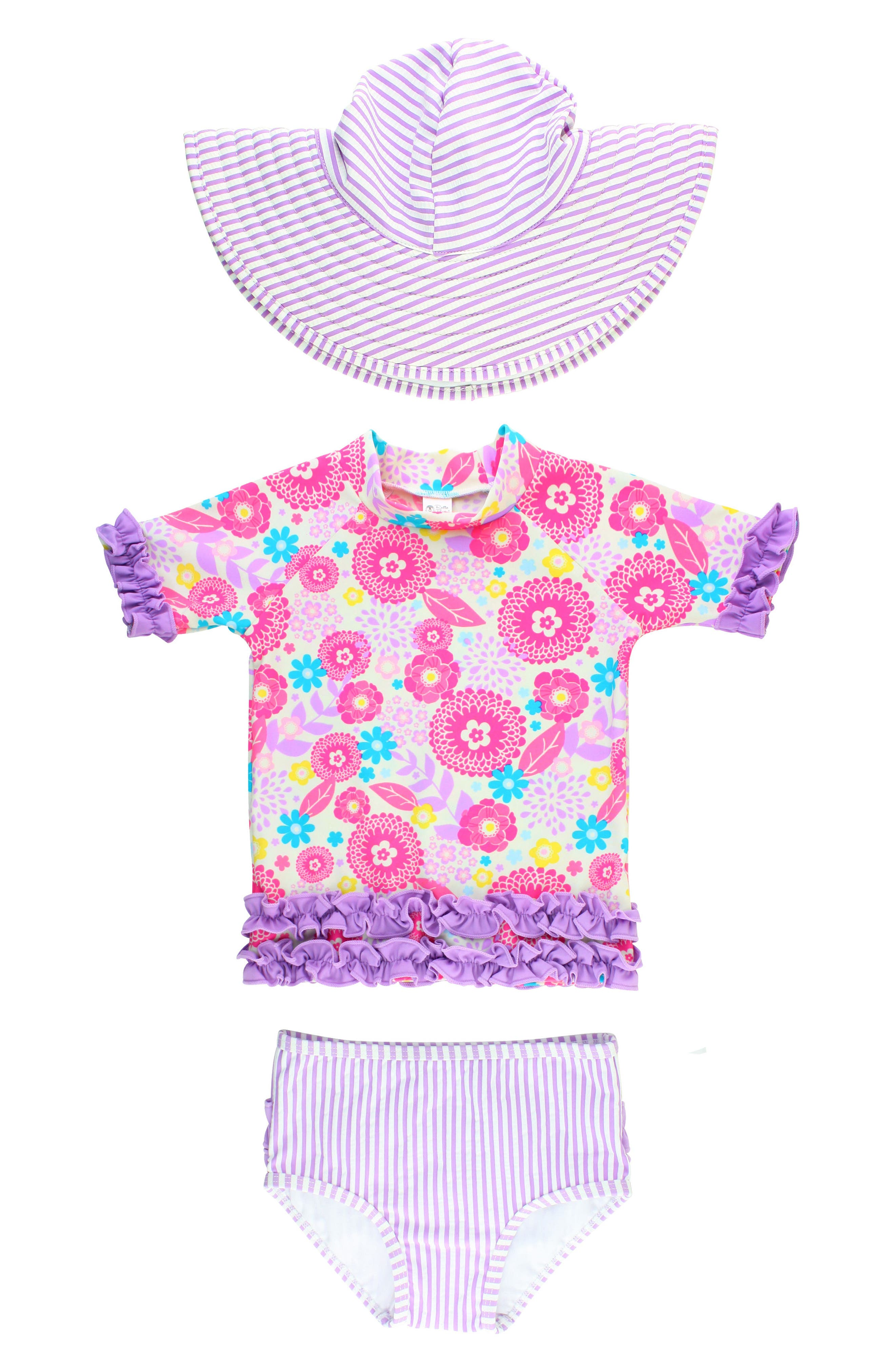 Blooming Buttercup Two-Piece Rashguard Swimsuit & Hat Set,                             Main thumbnail 1, color,                             Purple
