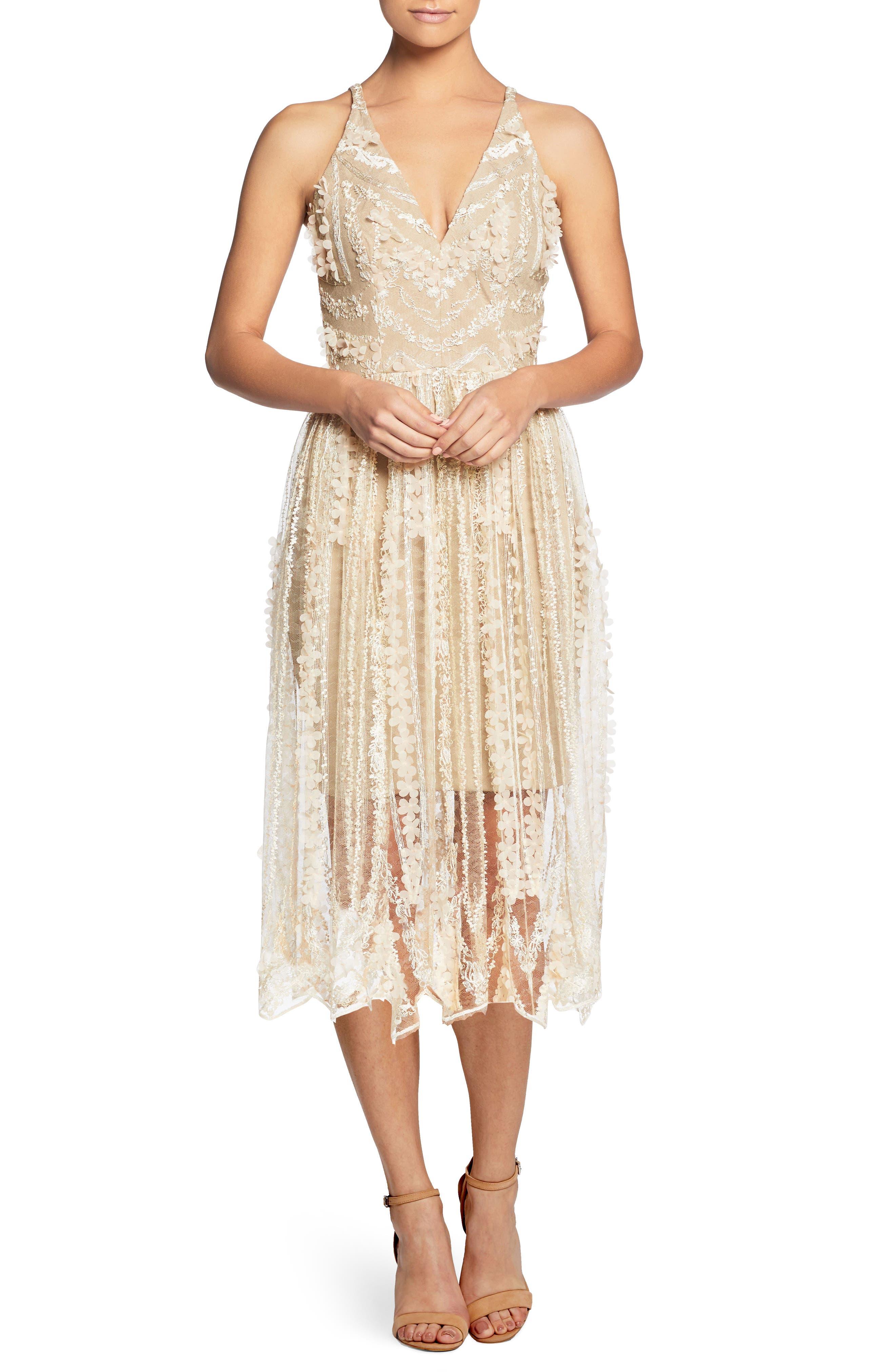 CELINE EMBROIDERED TEA LENGTH DRESS