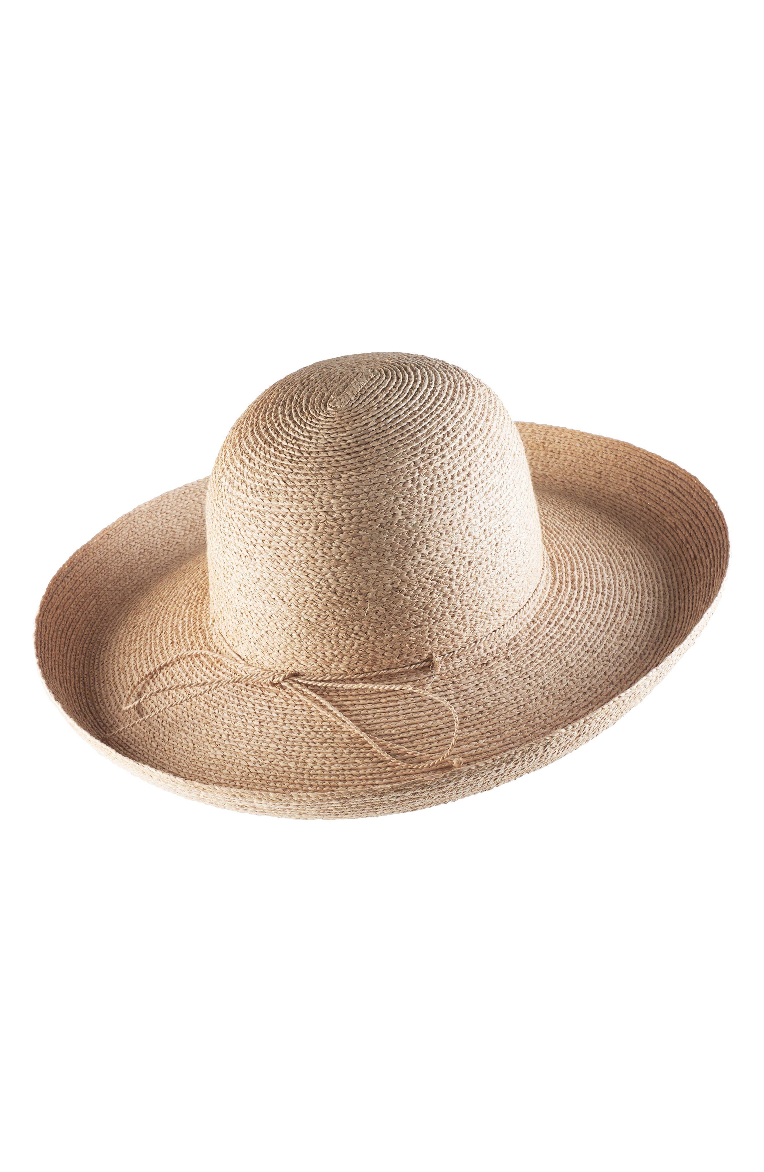 Rolled Brim Raffia Hat,                             Alternate thumbnail 2, color,                             Natural