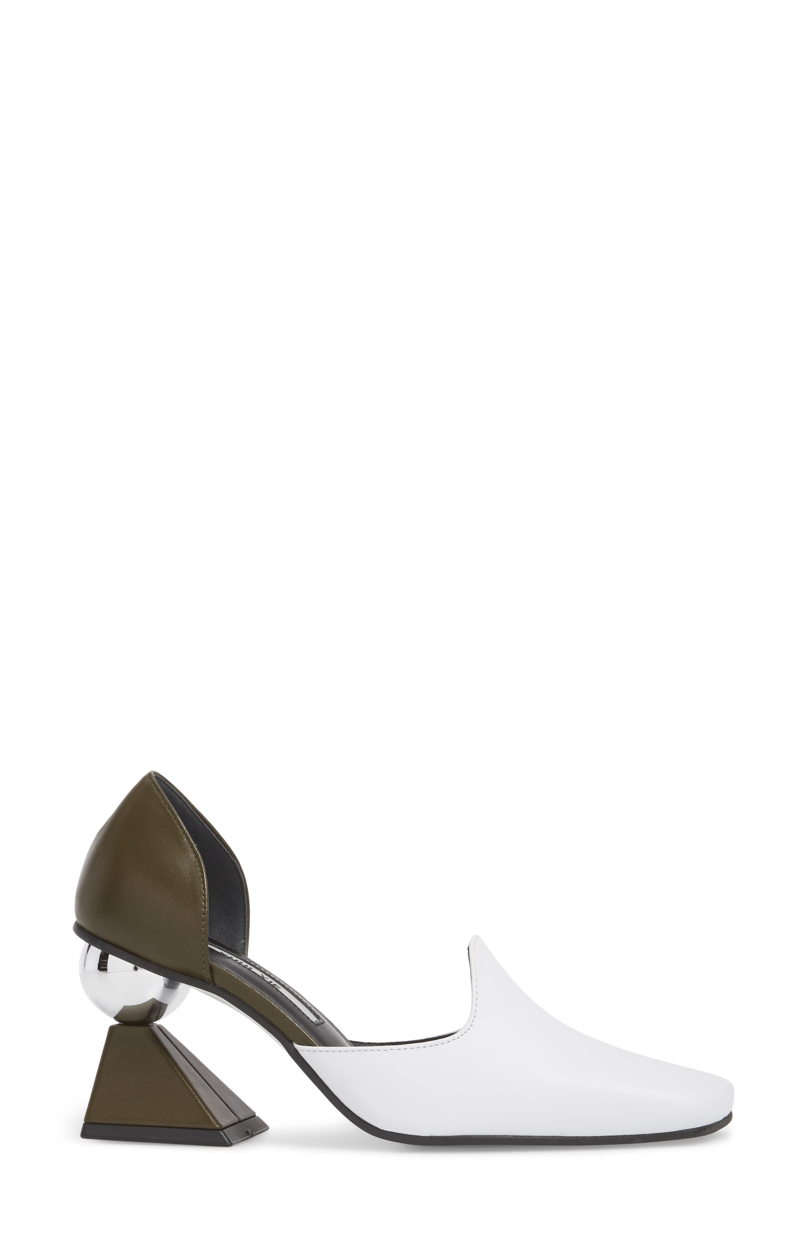 Statement Heel d'Orsay Pump,                             Alternate thumbnail 3, color,                             White/ Olive Green