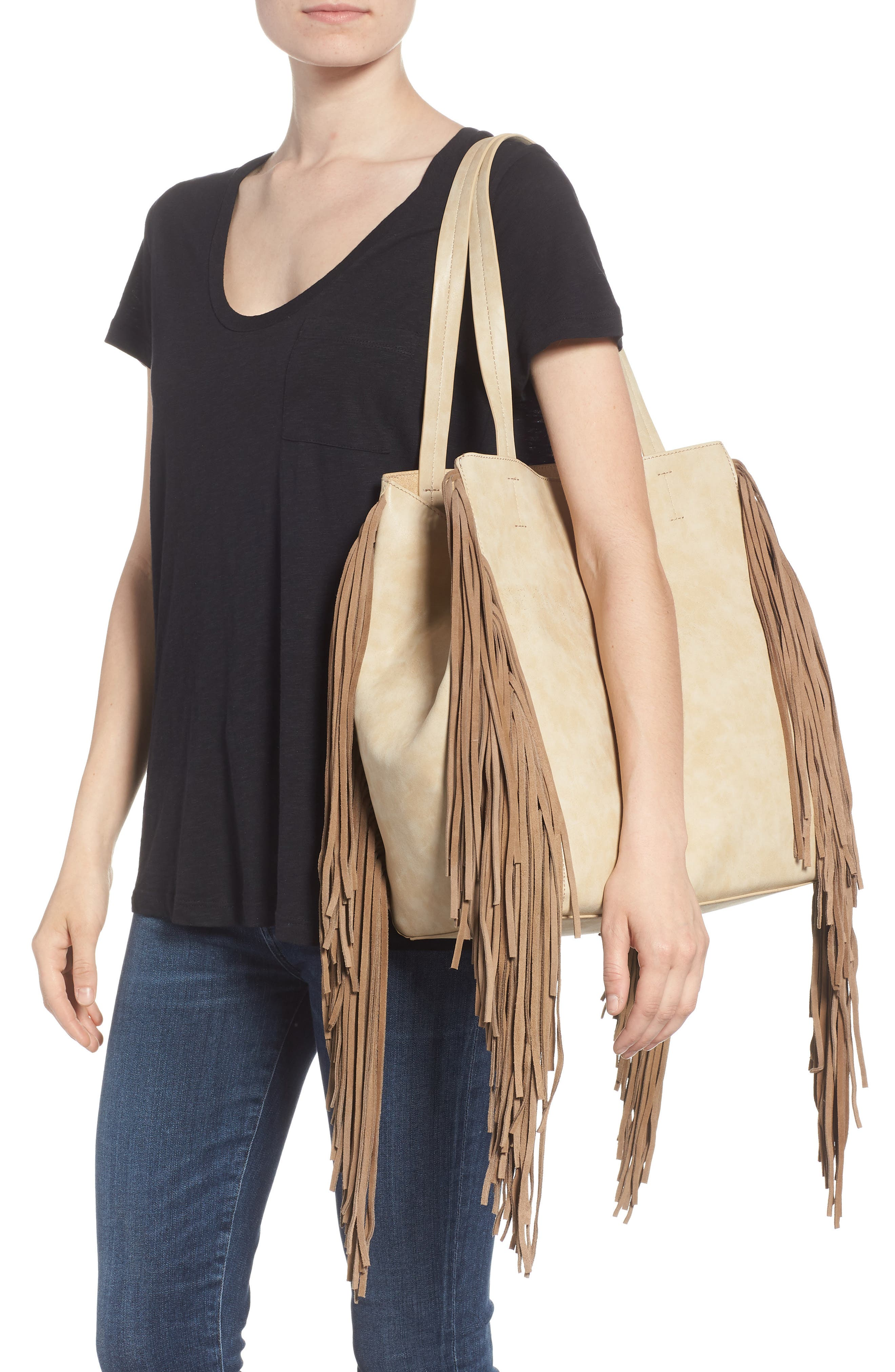 Sage Fringe Faux Leather Tote,                             Alternate thumbnail 2, color,                             Taupe
