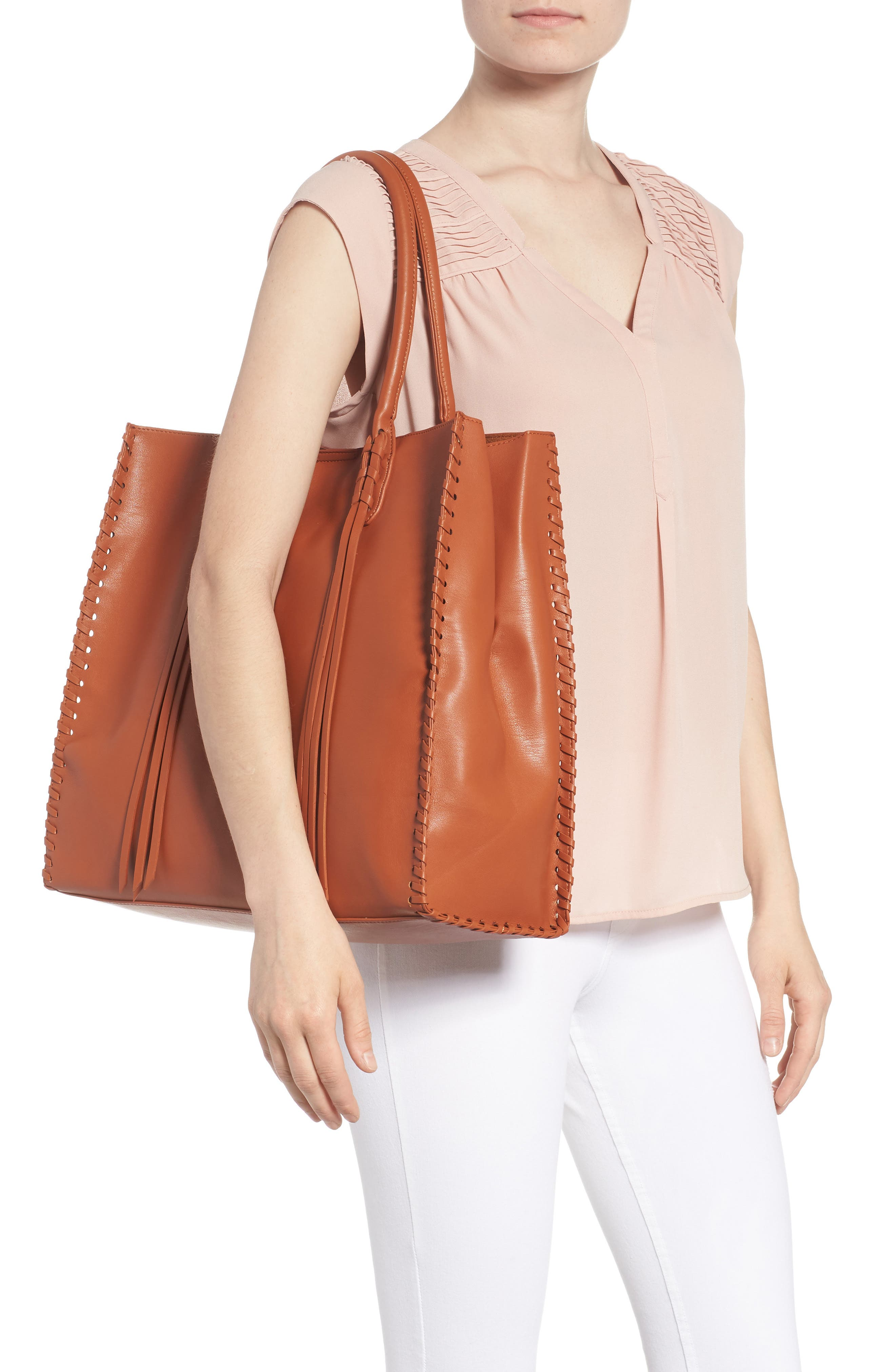 Cadence Faux Leather Whipstitch Tote,                             Alternate thumbnail 2, color,                             Cognac