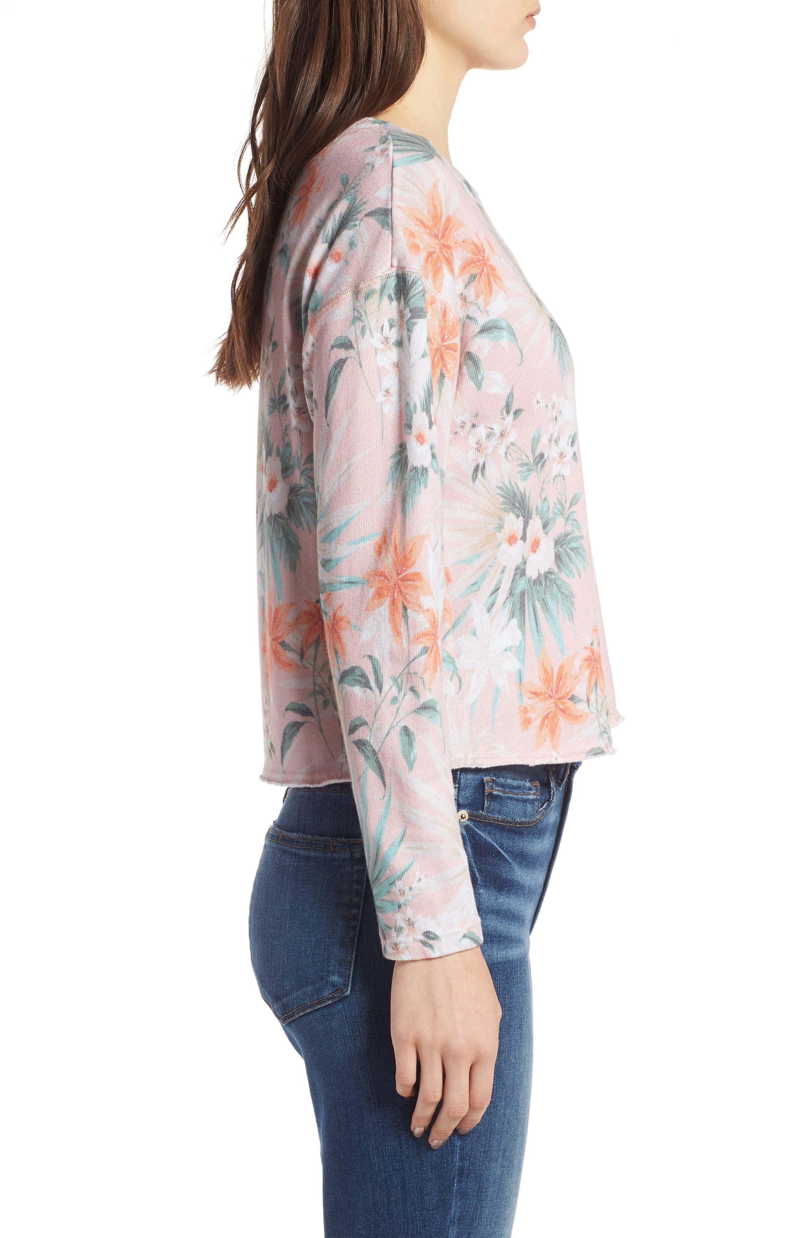 Tropical Crop Sweatshirt,                             Alternate thumbnail 4, color,                             Peach