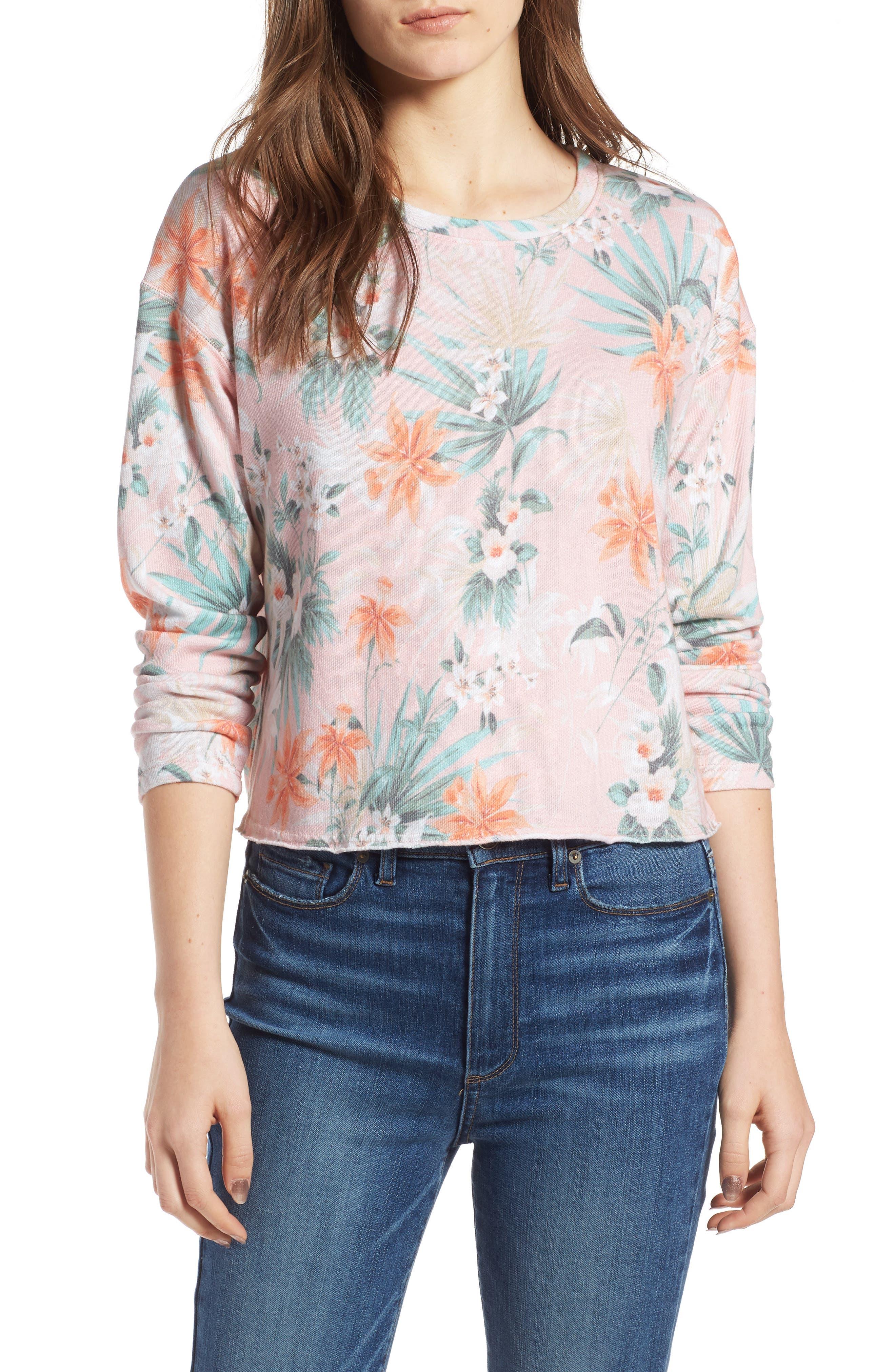 Tropical Crop Sweatshirt,                         Main,                         color, Peach