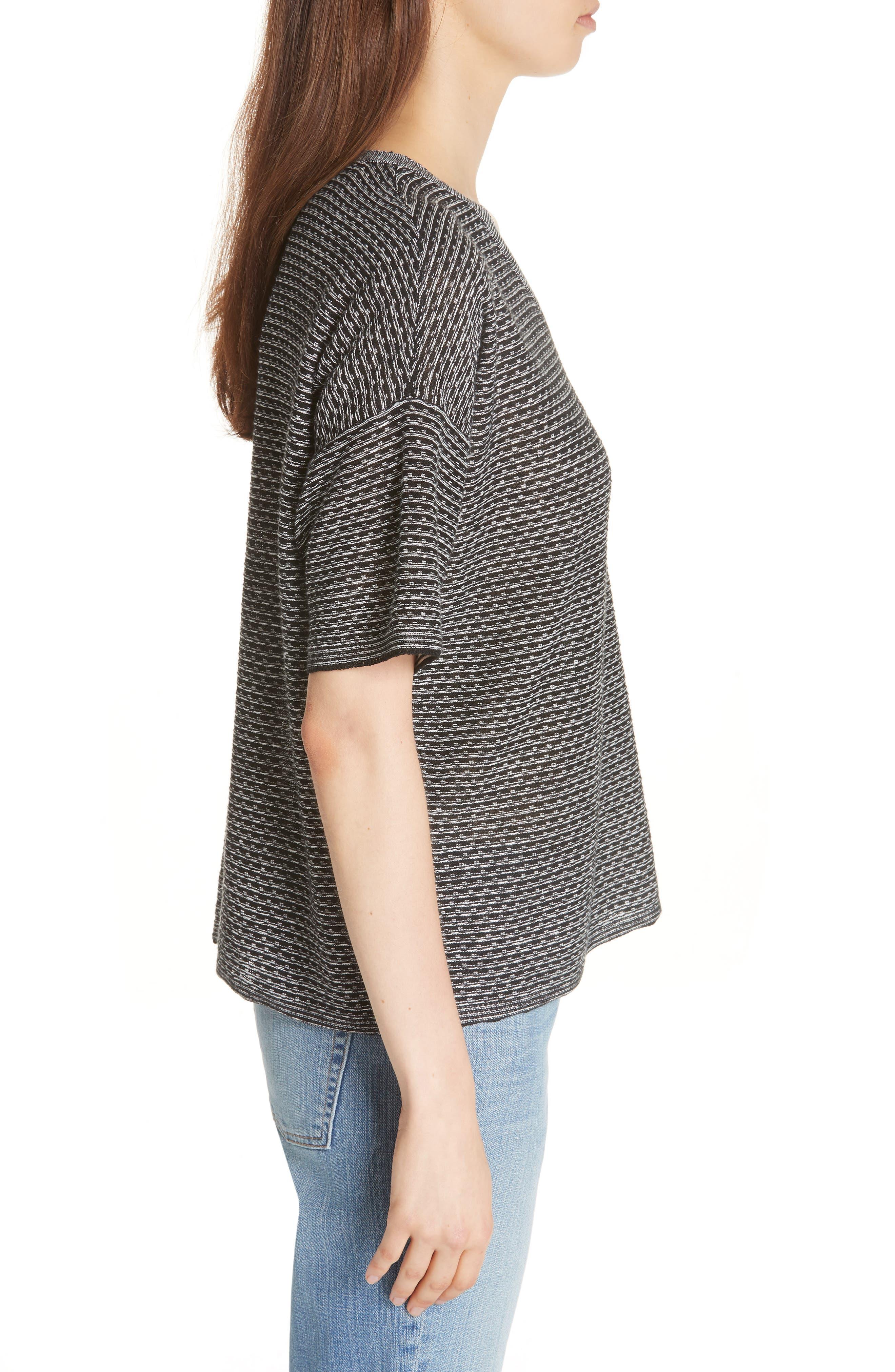 Organic Linen Jacquard Sweater,                             Alternate thumbnail 3, color,                             Black/ Soft White