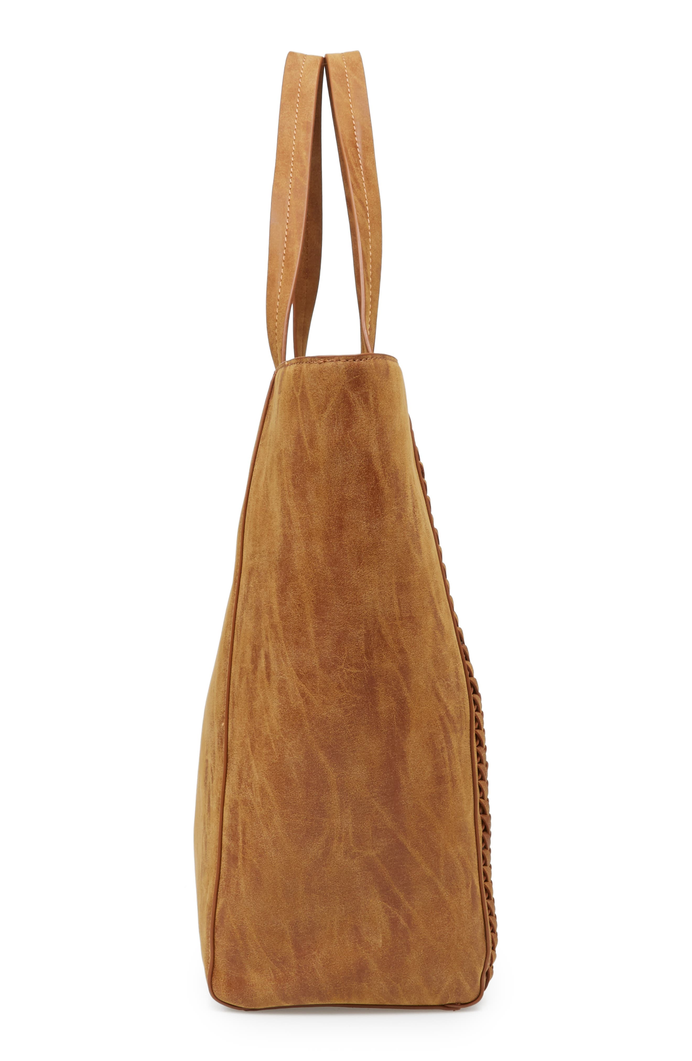 Sage Fringe Faux Leather Tote,                             Alternate thumbnail 4, color,                             Taupe