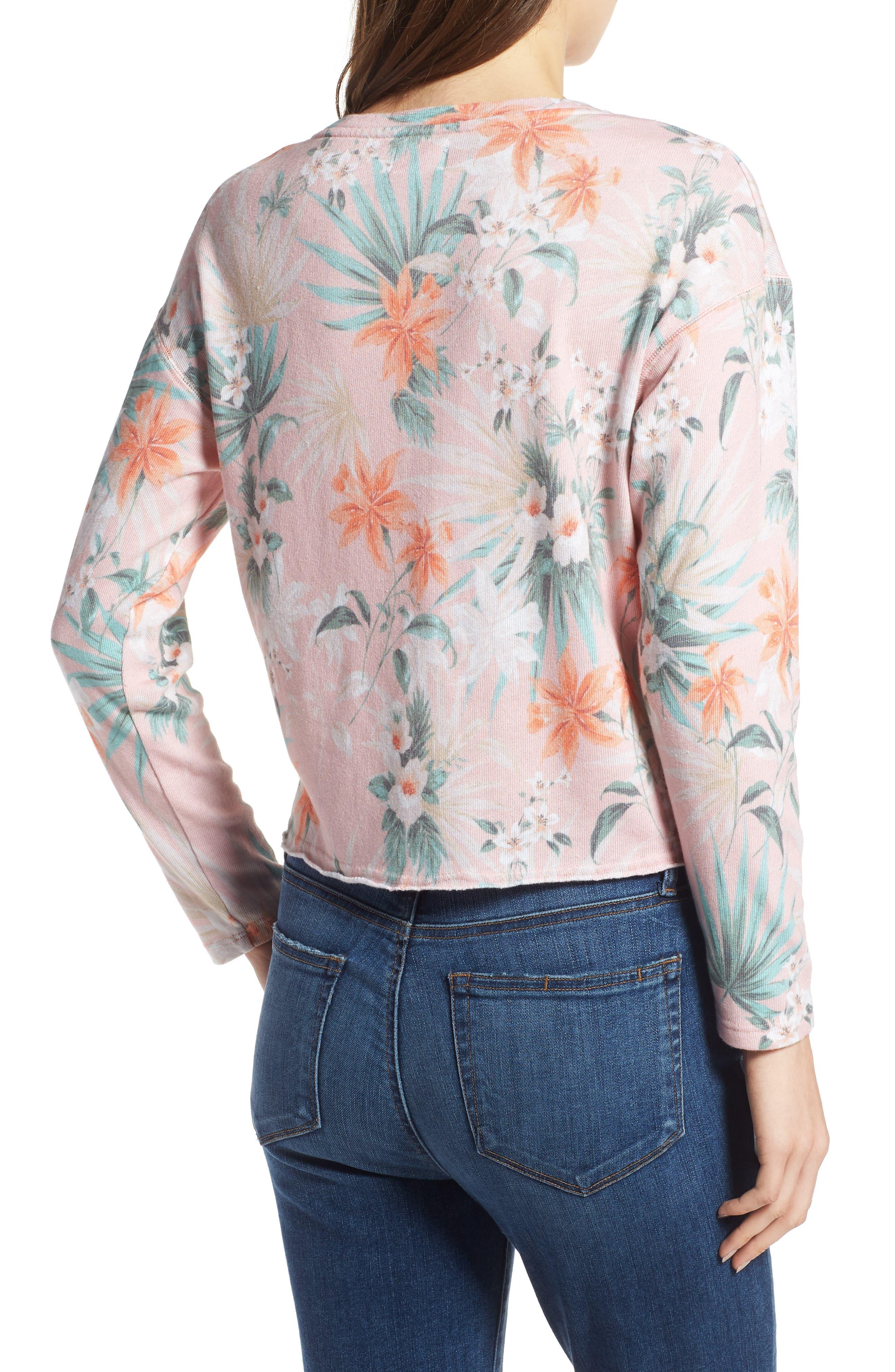 Tropical Crop Sweatshirt,                             Alternate thumbnail 2, color,                             Peach