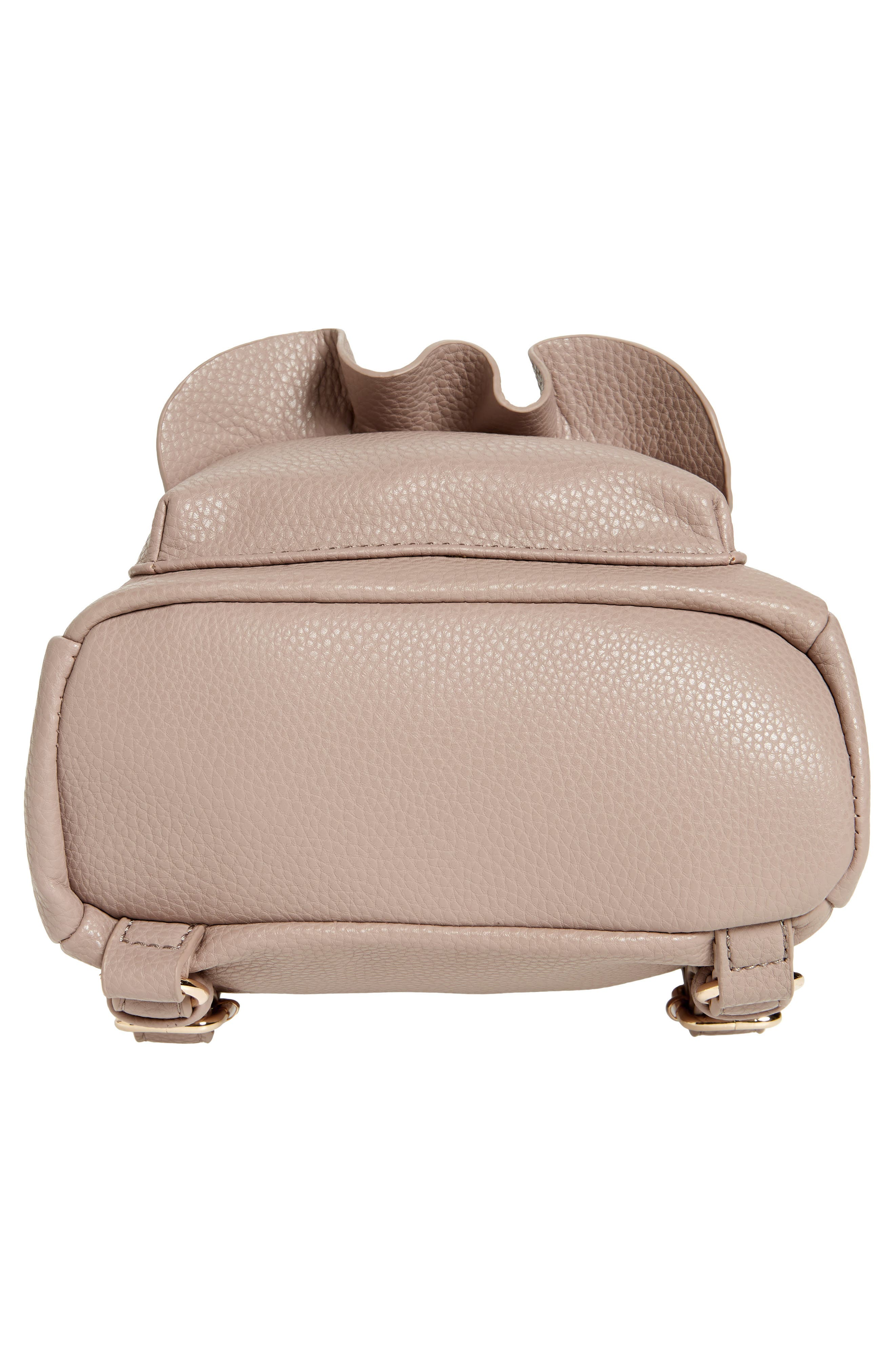 Tracie Mini Faux Leather Backpack,                             Alternate thumbnail 6, color,                             Taupe