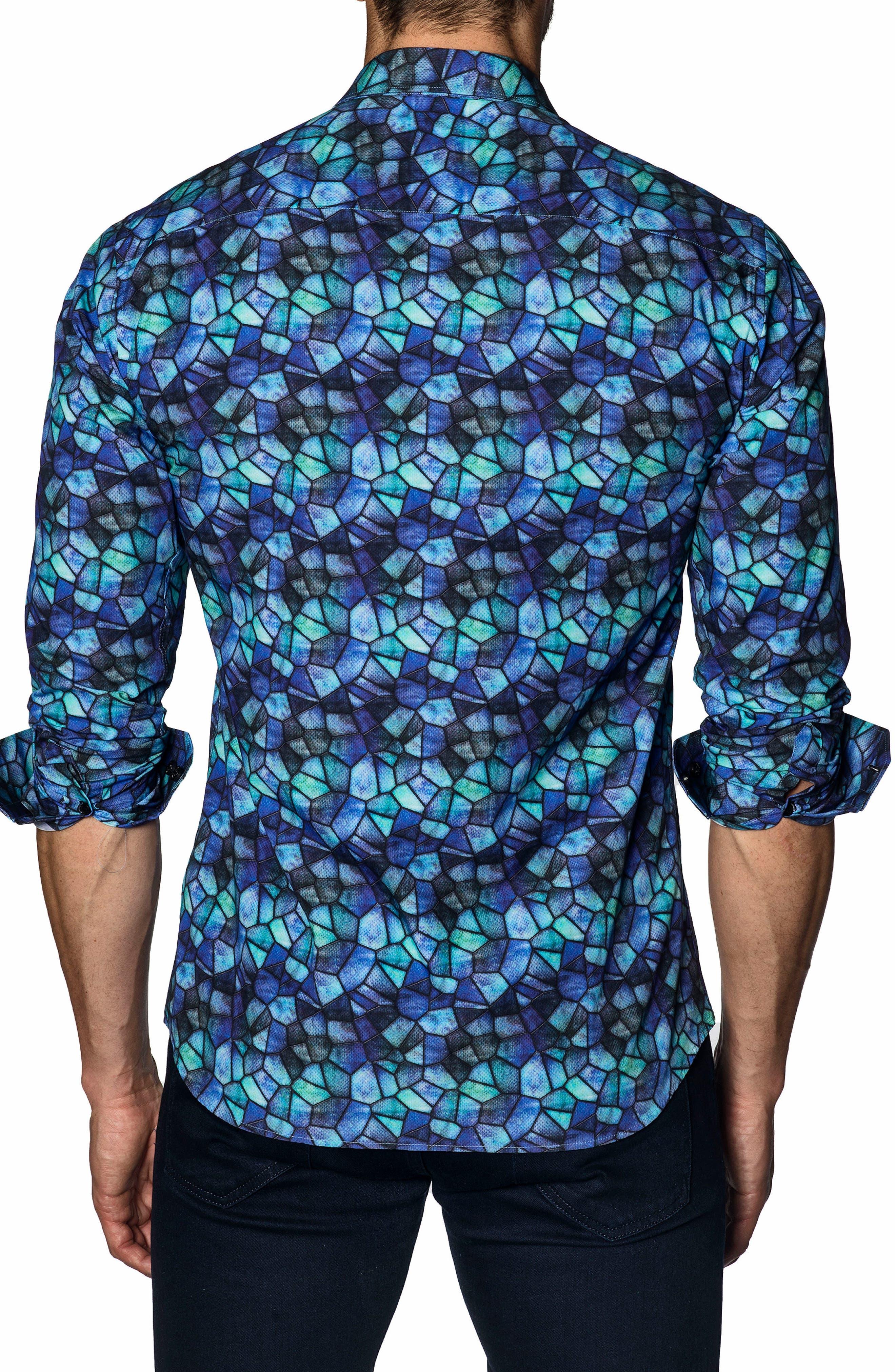 Trim Fit Sport Shirt,                             Alternate thumbnail 2, color,                             Purple Green Print
