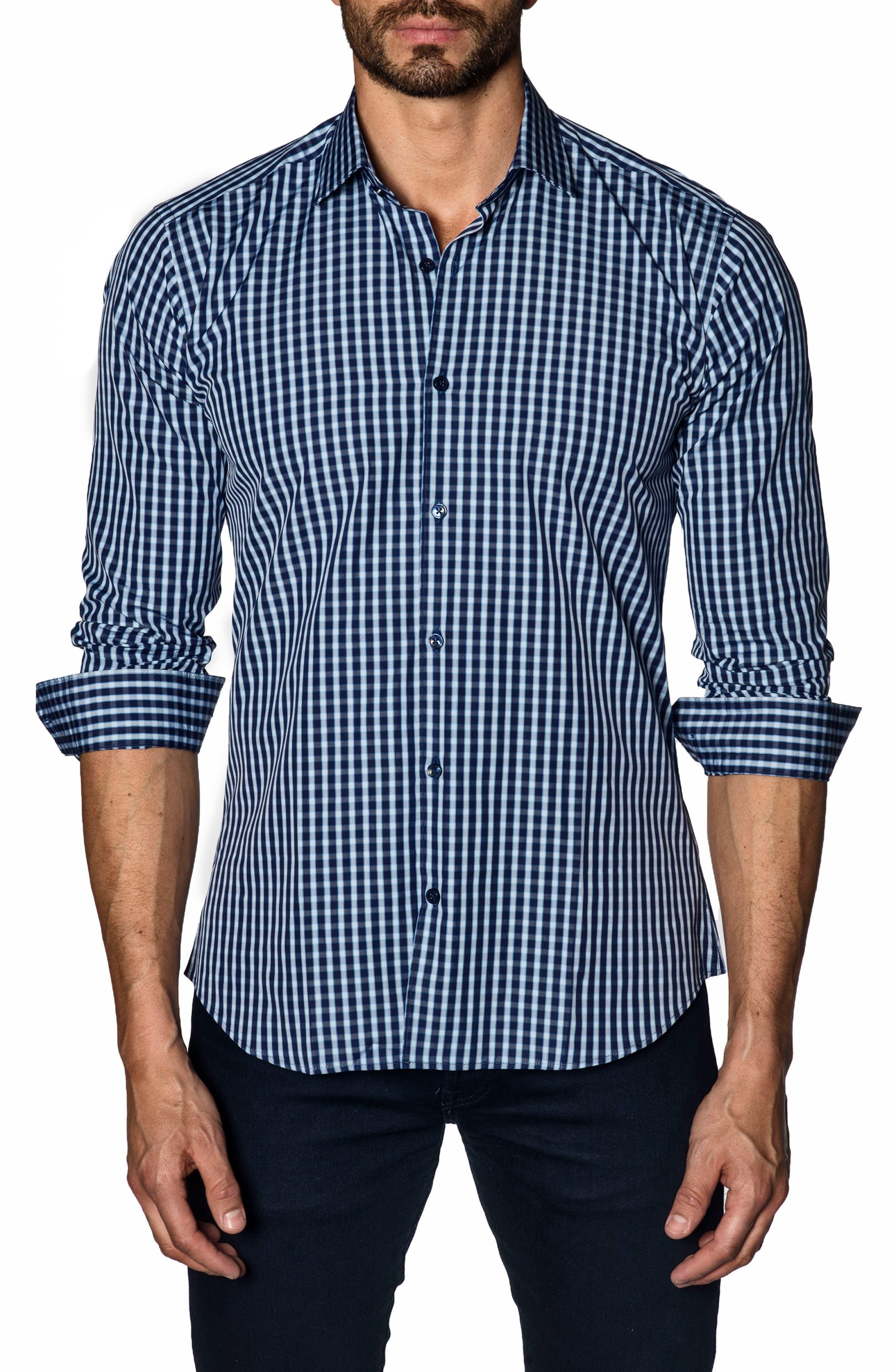Trim Fit Sport Shirt,                         Main,                         color, Navy Check