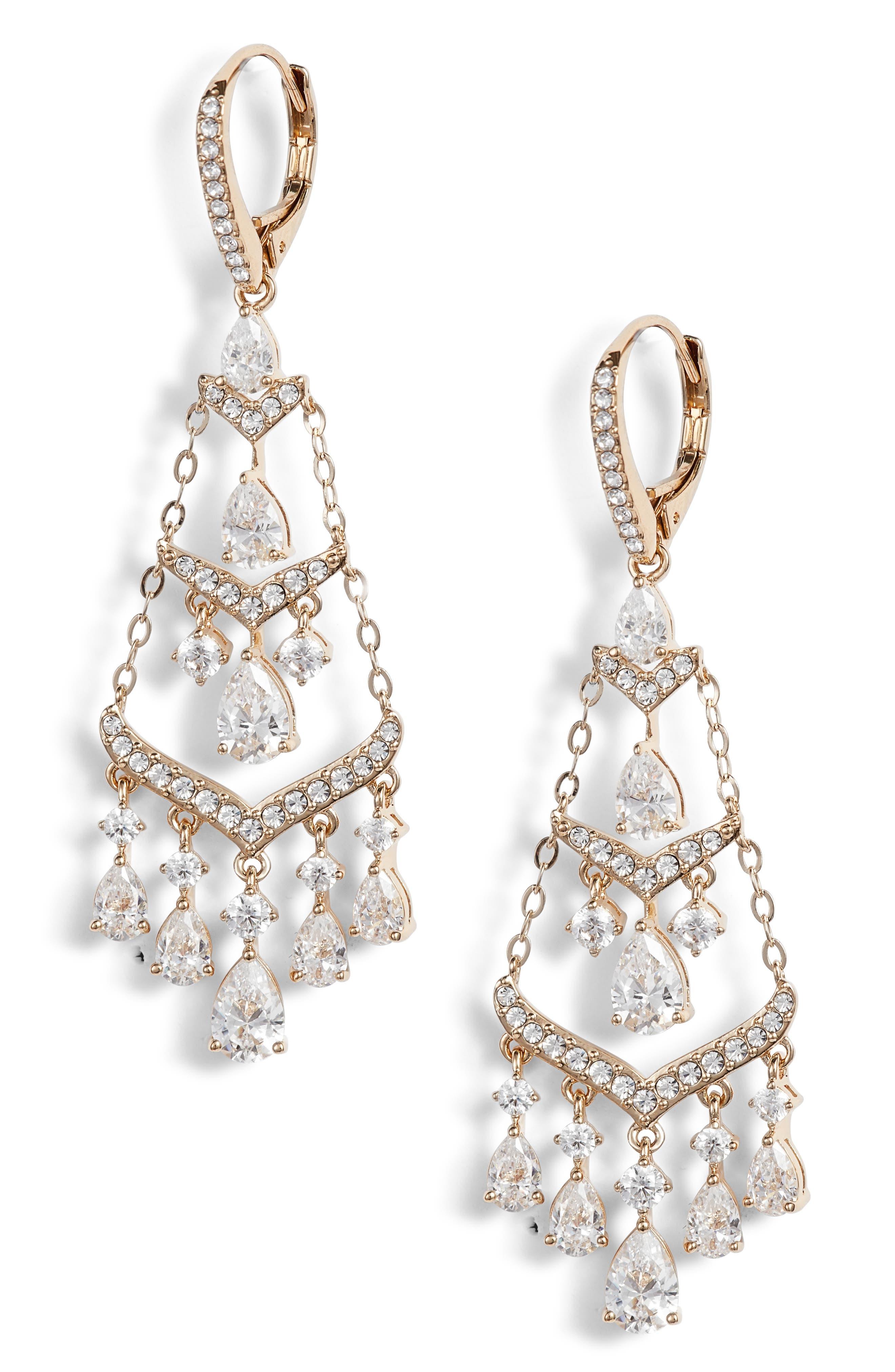 Chandelier Earrings,                         Main,                         color, Gold