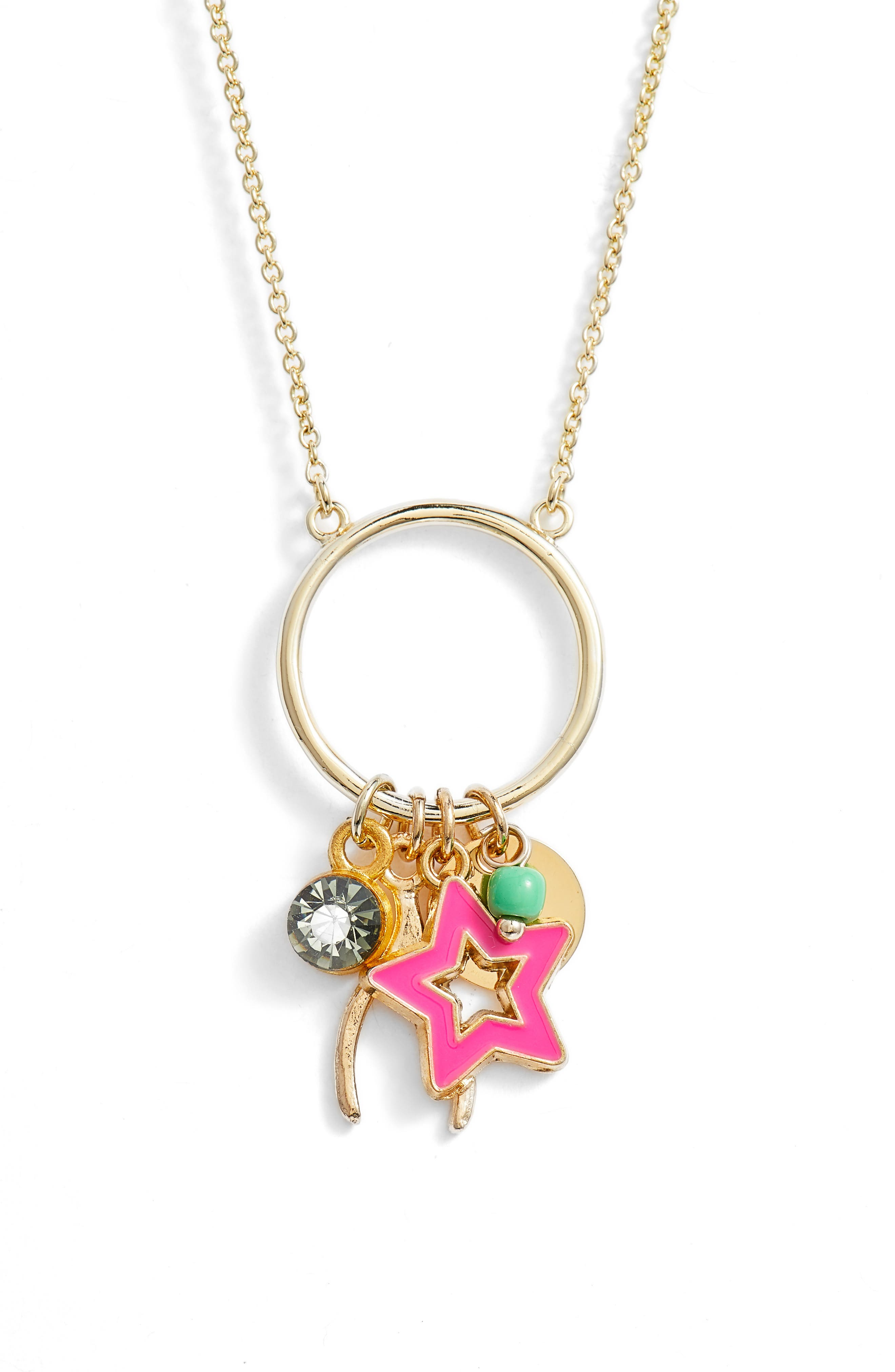 Lola Charm Pendant Necklace,                         Main,                         color, Gold