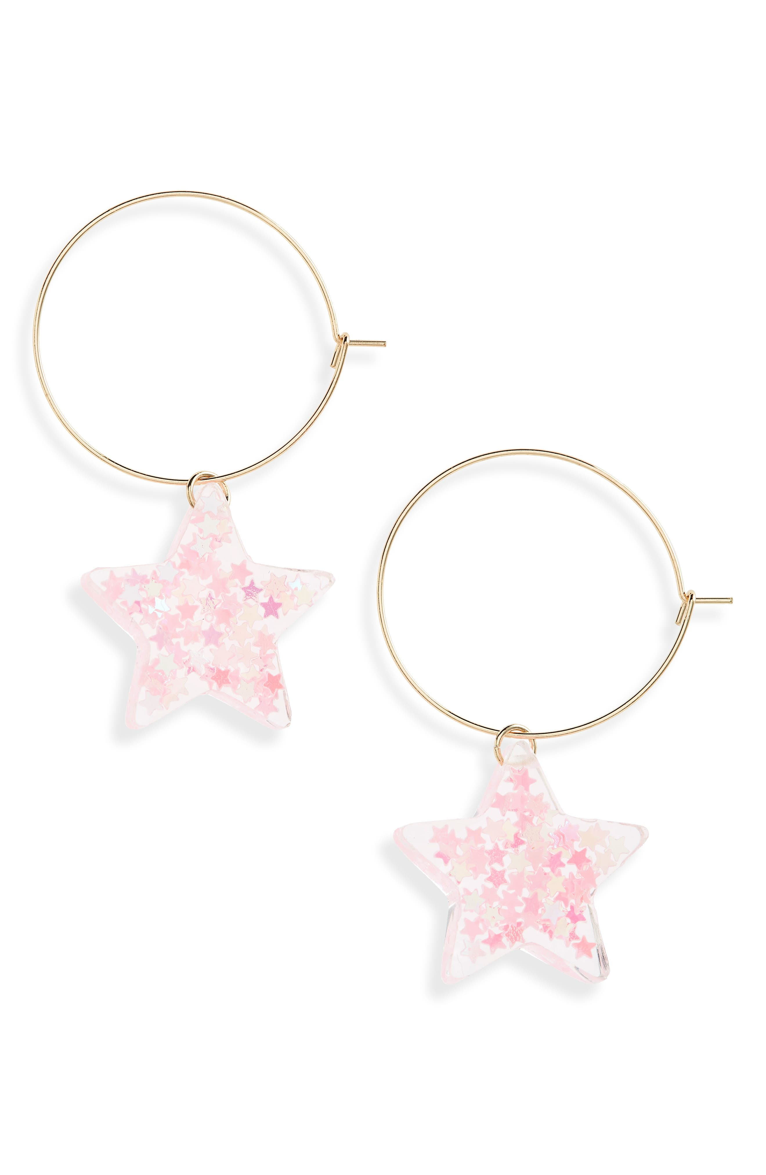 Small Glitter Star Hoop Earrings,                             Main thumbnail 1, color,                             Pink