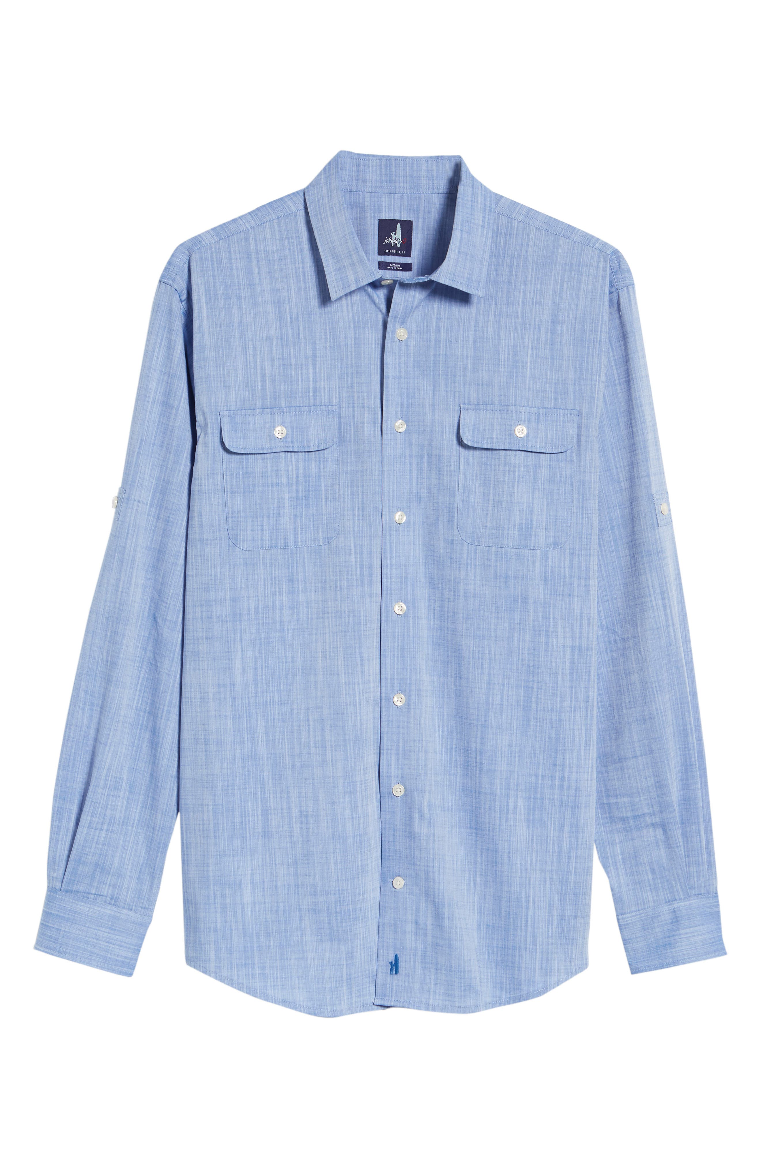 Hutton Classic Fit Shirt,                             Alternate thumbnail 5, color,                             Deep Water