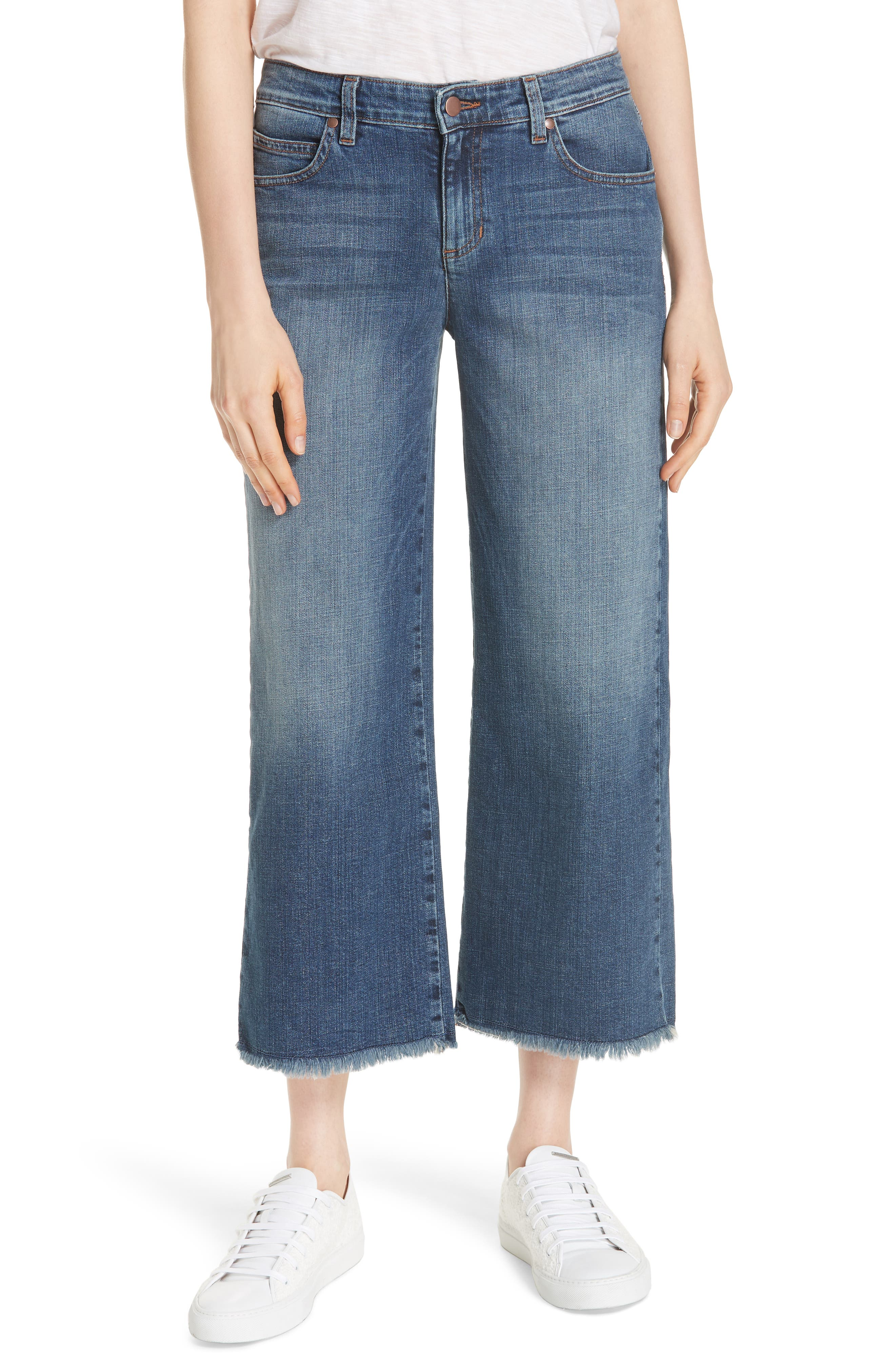 Frayed Wide Leg Ankle Jeans,                             Main thumbnail 1, color,                             Aged Indigo