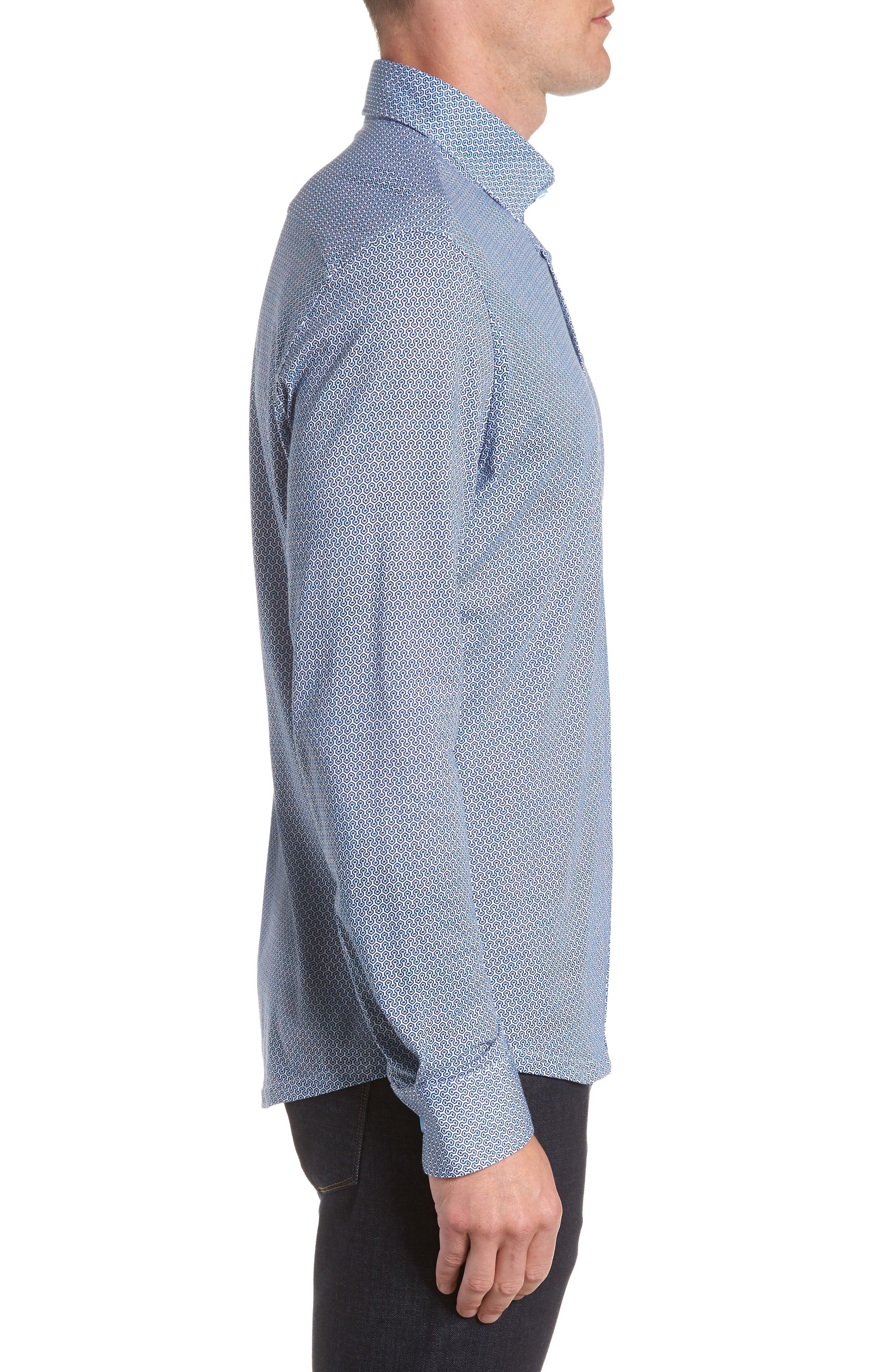 Honeycomb Print Knit Sport Shirt,                             Alternate thumbnail 4, color,                             Blue