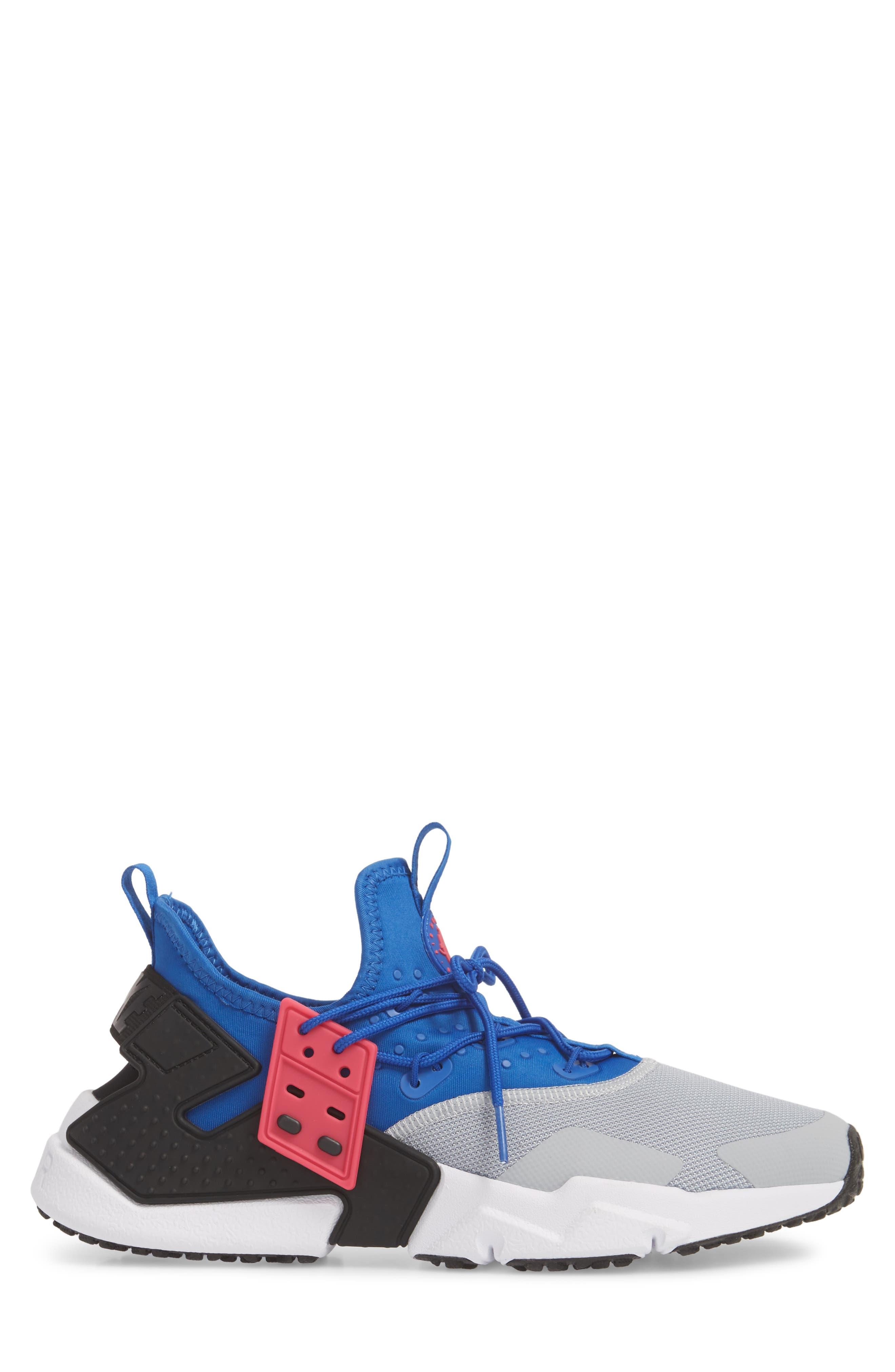 Air Huarache Drift Sneaker,                             Alternate thumbnail 3, color,                             Game Royal/ White/ Wolf Grey