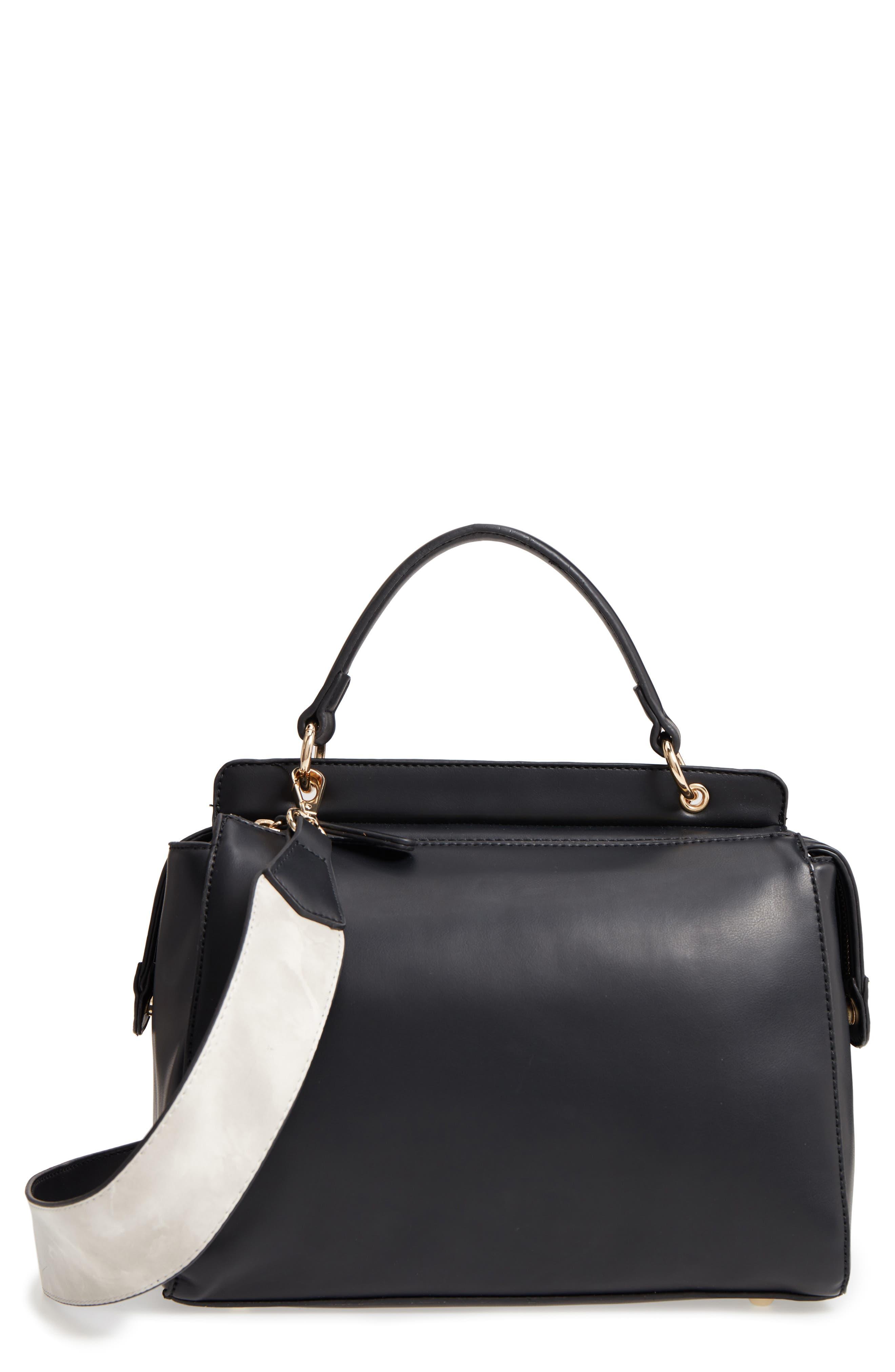 Jayleen Faux Leather Satchel,                             Main thumbnail 1, color,                             Black