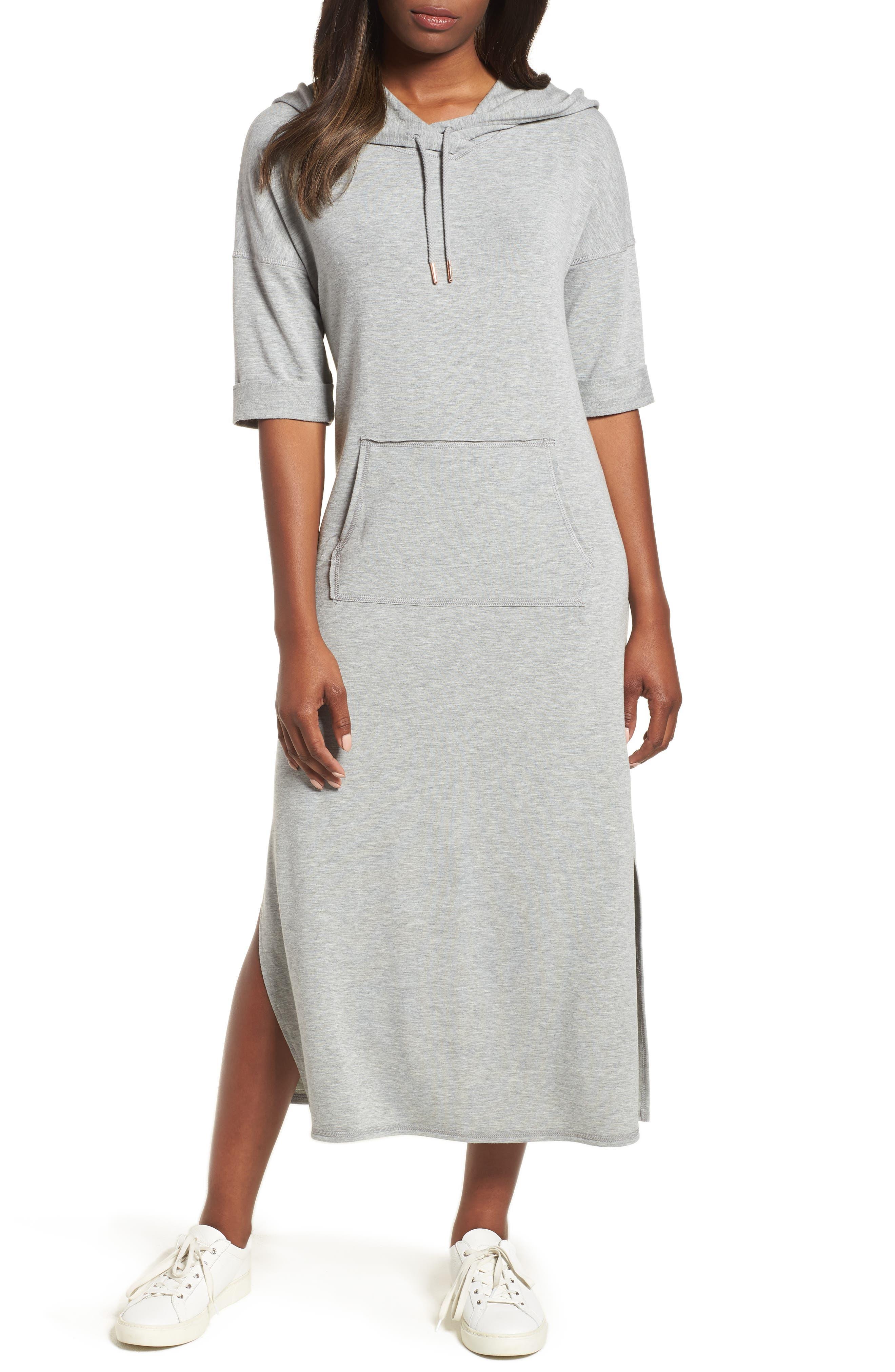 Off-Duty Knit Maxi Dress,                             Main thumbnail 1, color,                             Grey Heather