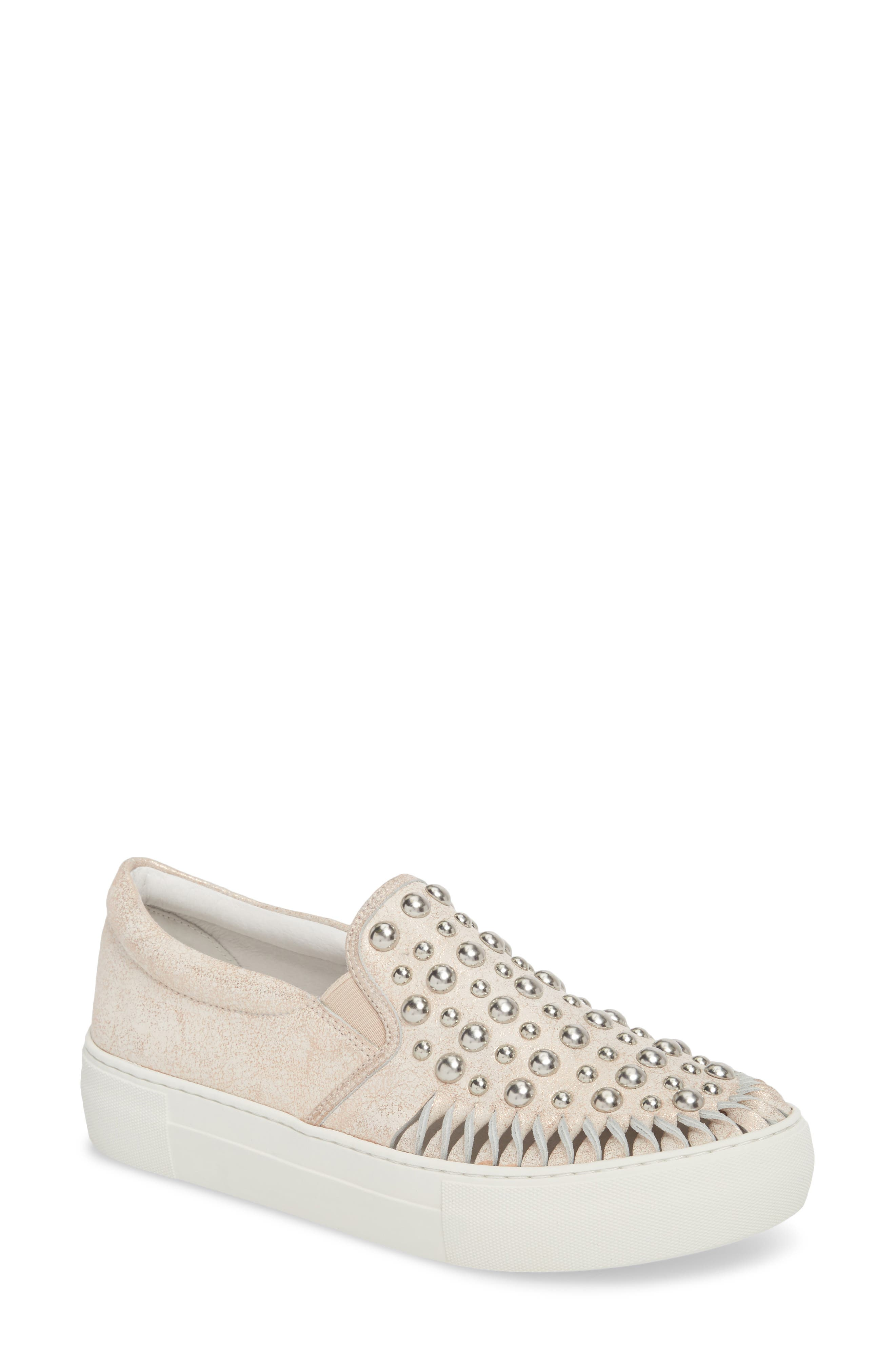 AZT Studded Slip-On Sneaker,                             Main thumbnail 1, color,                             Soft Pink Metallic Leather