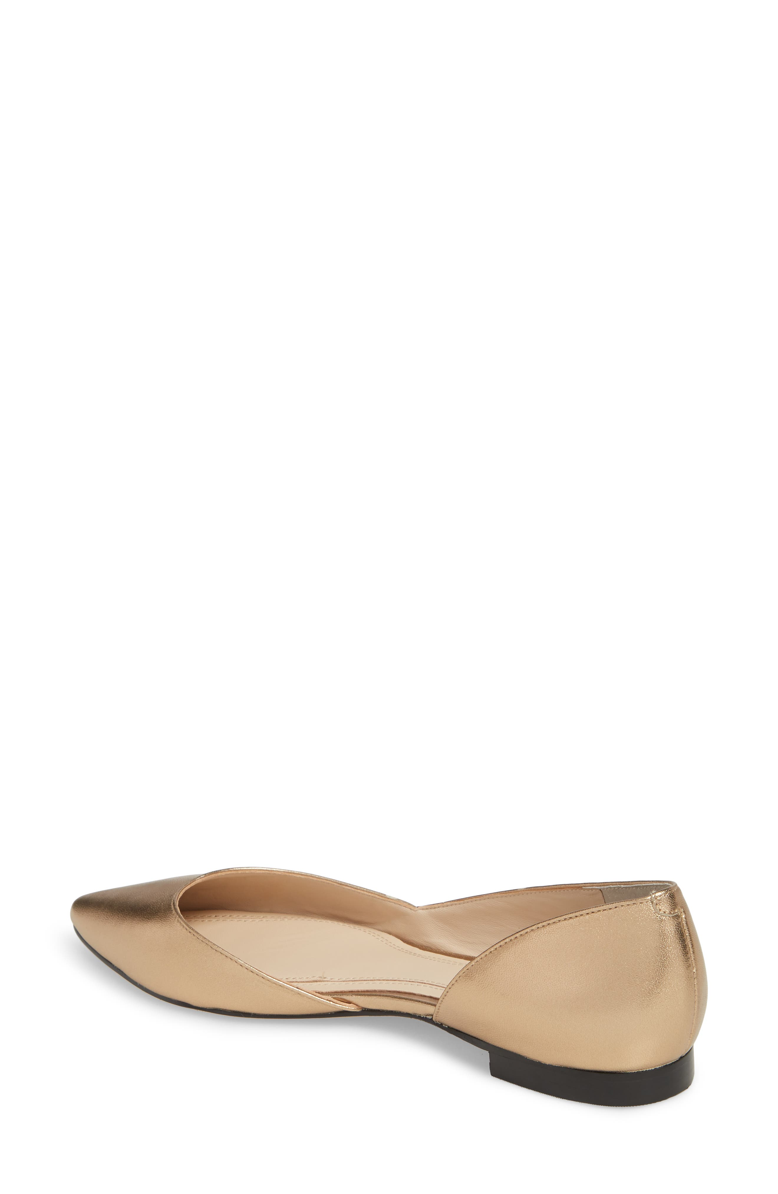'Sunny' Half d'Orsay Flat,                             Alternate thumbnail 2, color,                             Gold Leather