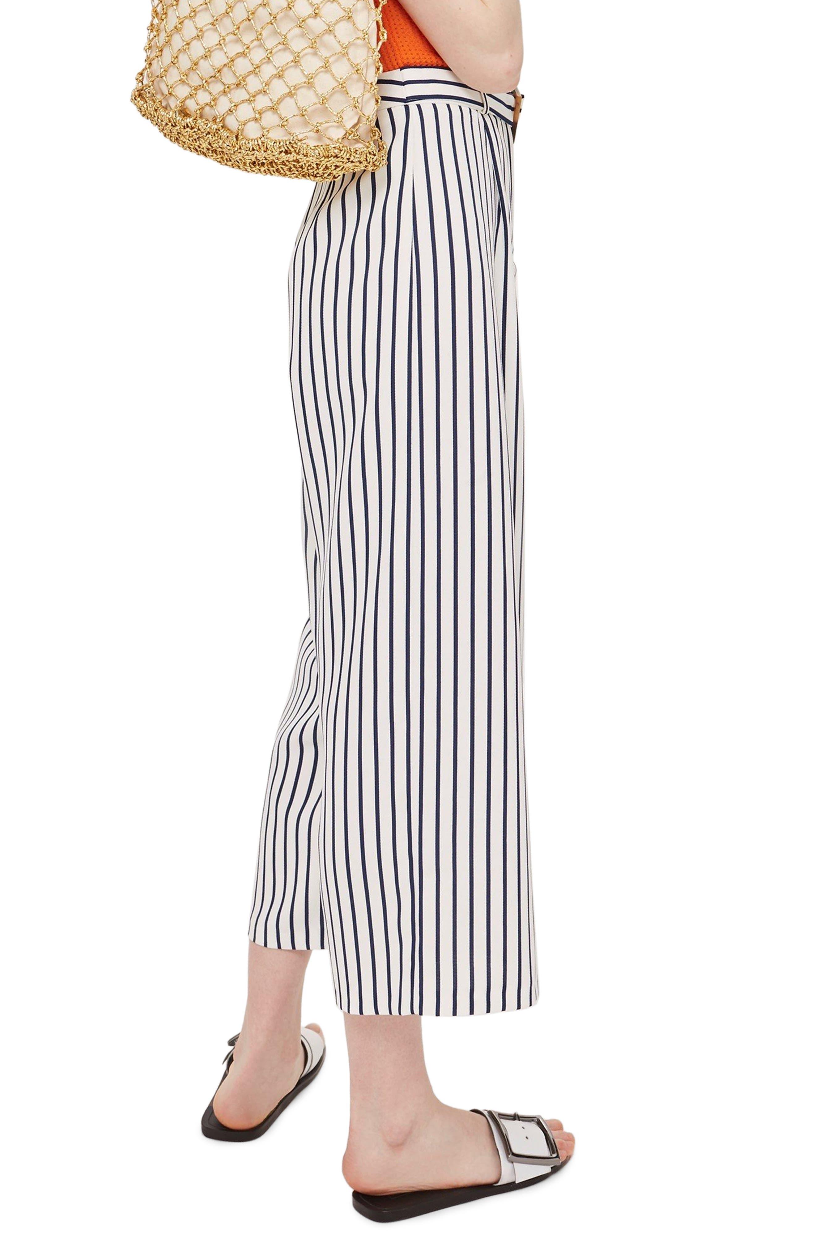 Stripe Wide Leg Crop Trousers,                             Alternate thumbnail 2, color,                             Ivory Multi