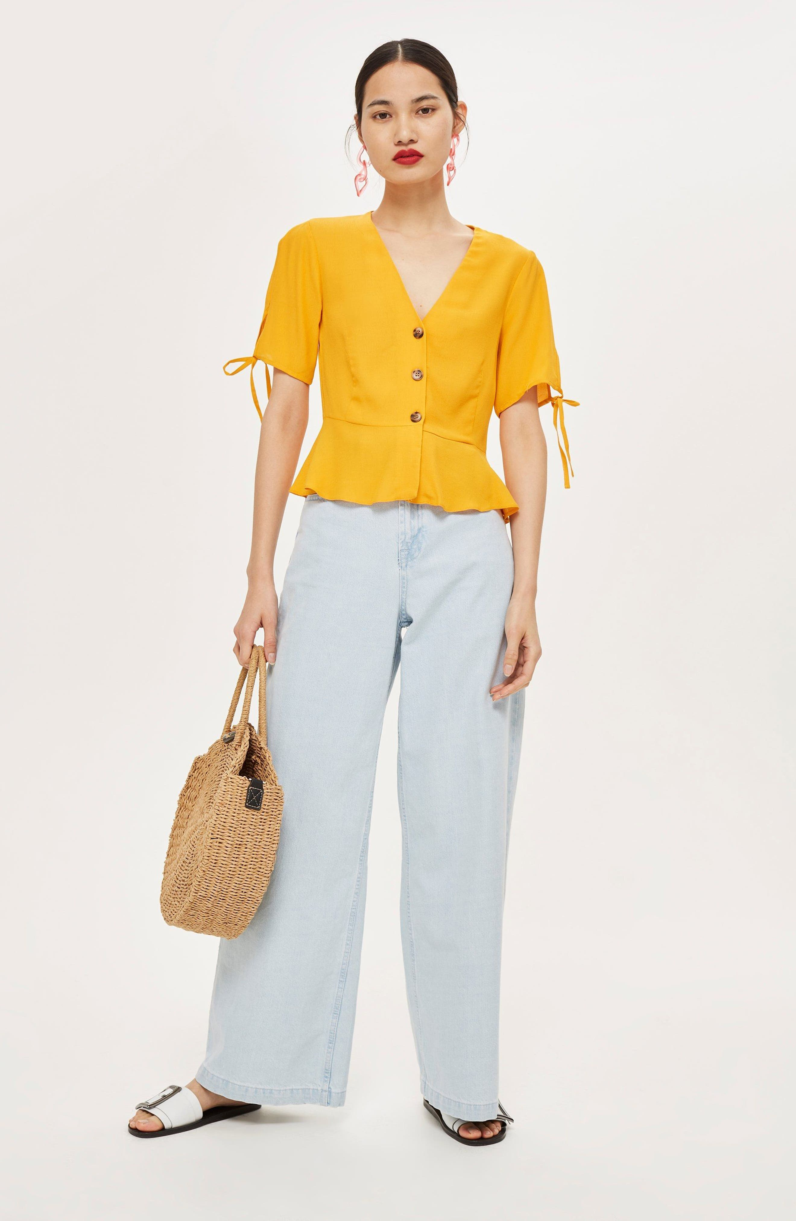 Bryony Tea Button Front Blouse,                             Alternate thumbnail 2, color,                             Yellow