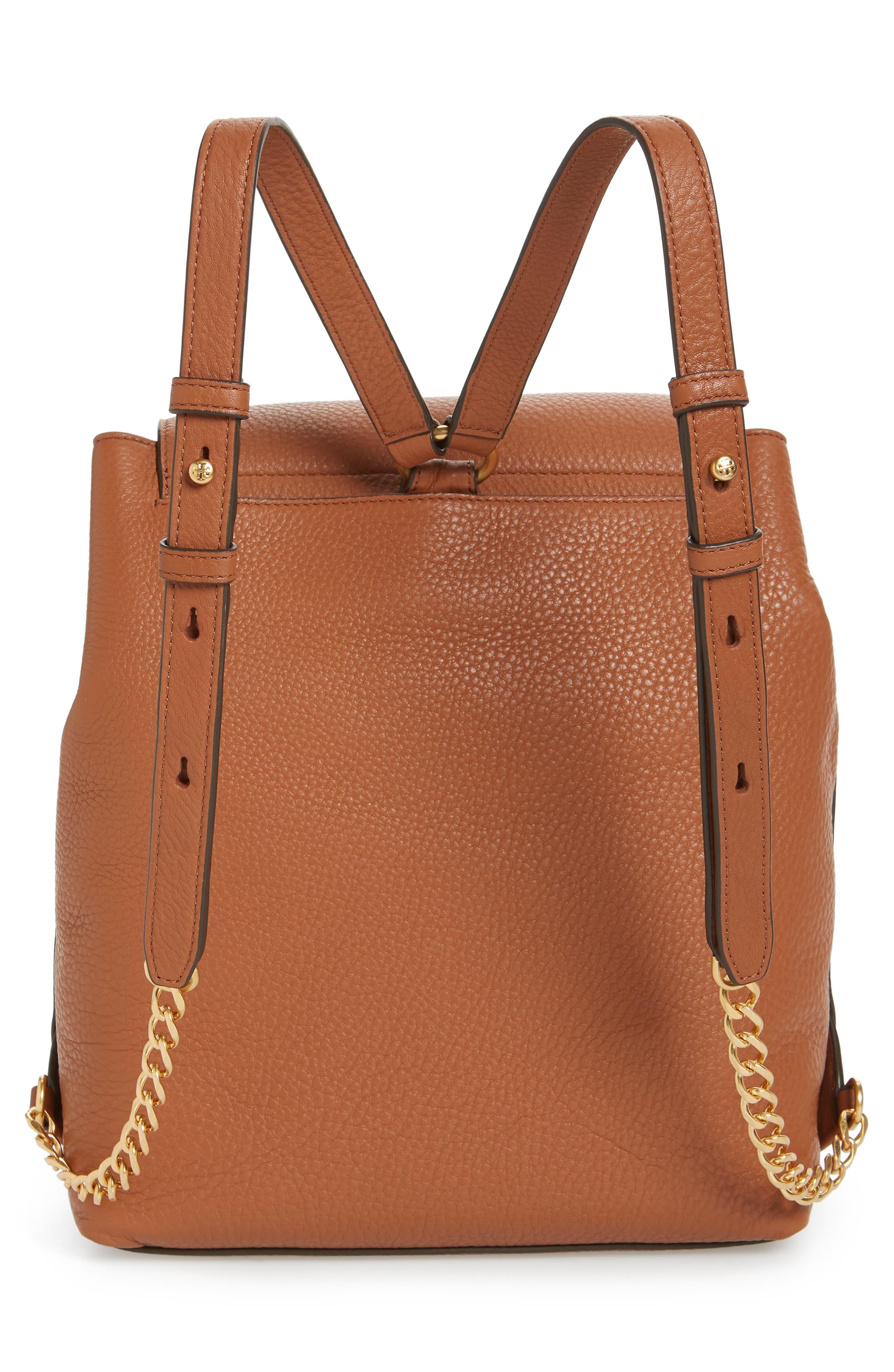Chelsea Leather Backpack,                             Alternate thumbnail 3, color,                             Classic Tan