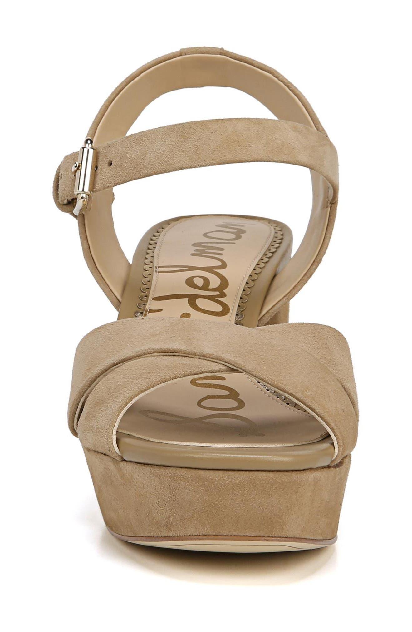 Jolene Platform Sandal,                             Alternate thumbnail 4, color,                             Oatmeal Leather