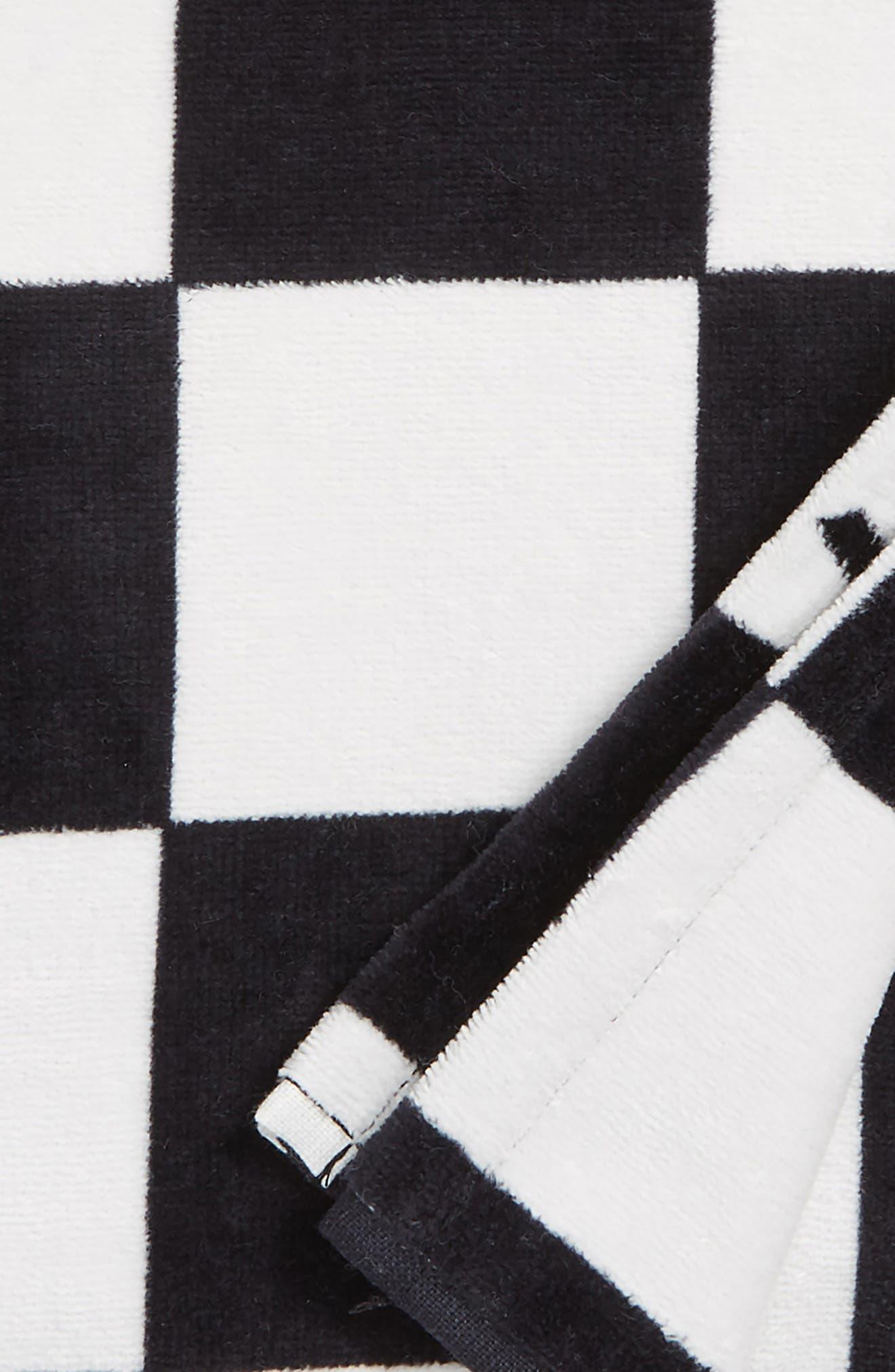 Checkerboard Beach Towel,                             Alternate thumbnail 2, color,                             Black/ White Check
