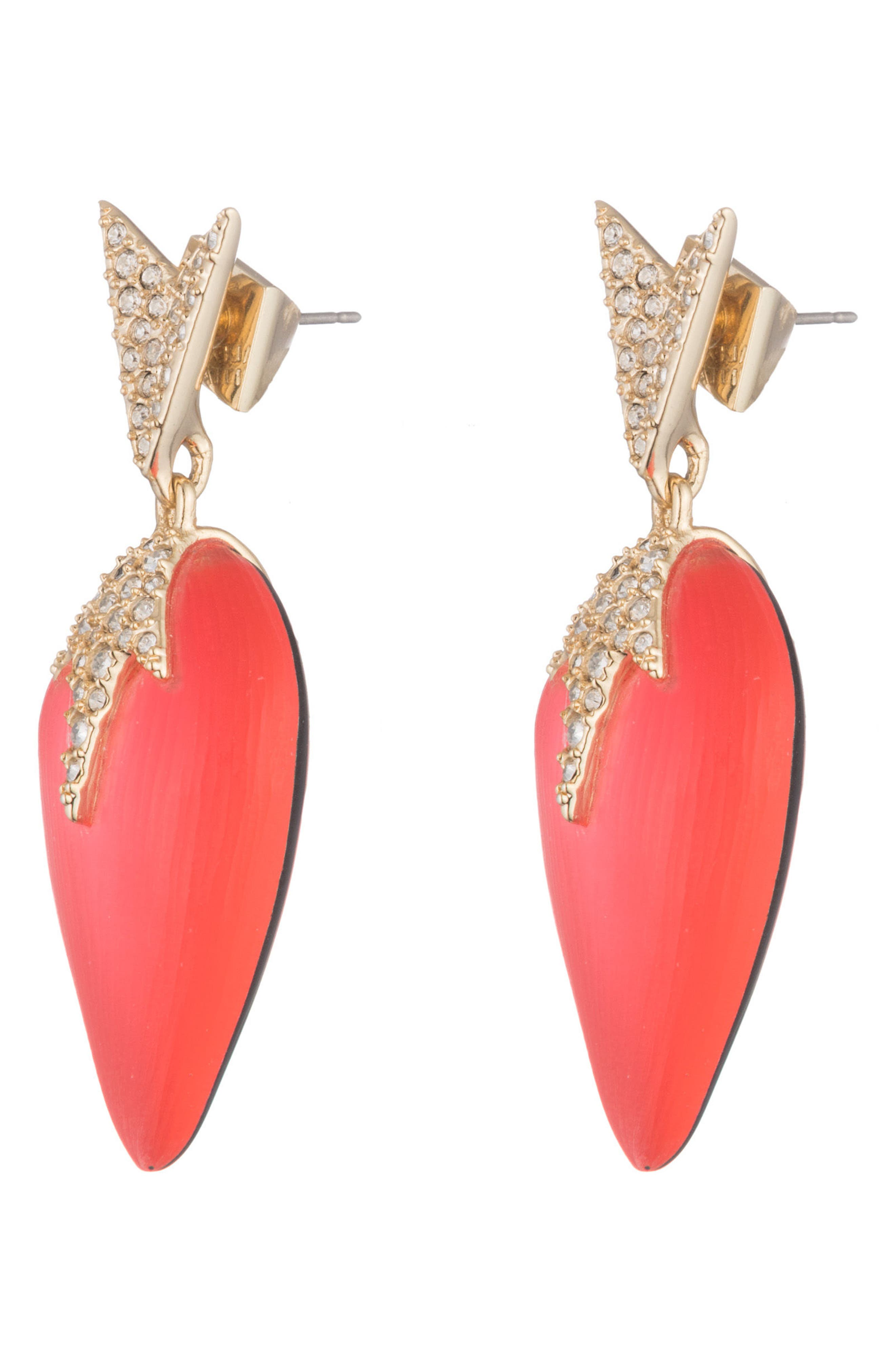 Lucite<sup>®</sup> Drop Post Earrings,                             Alternate thumbnail 2, color,                             Coral