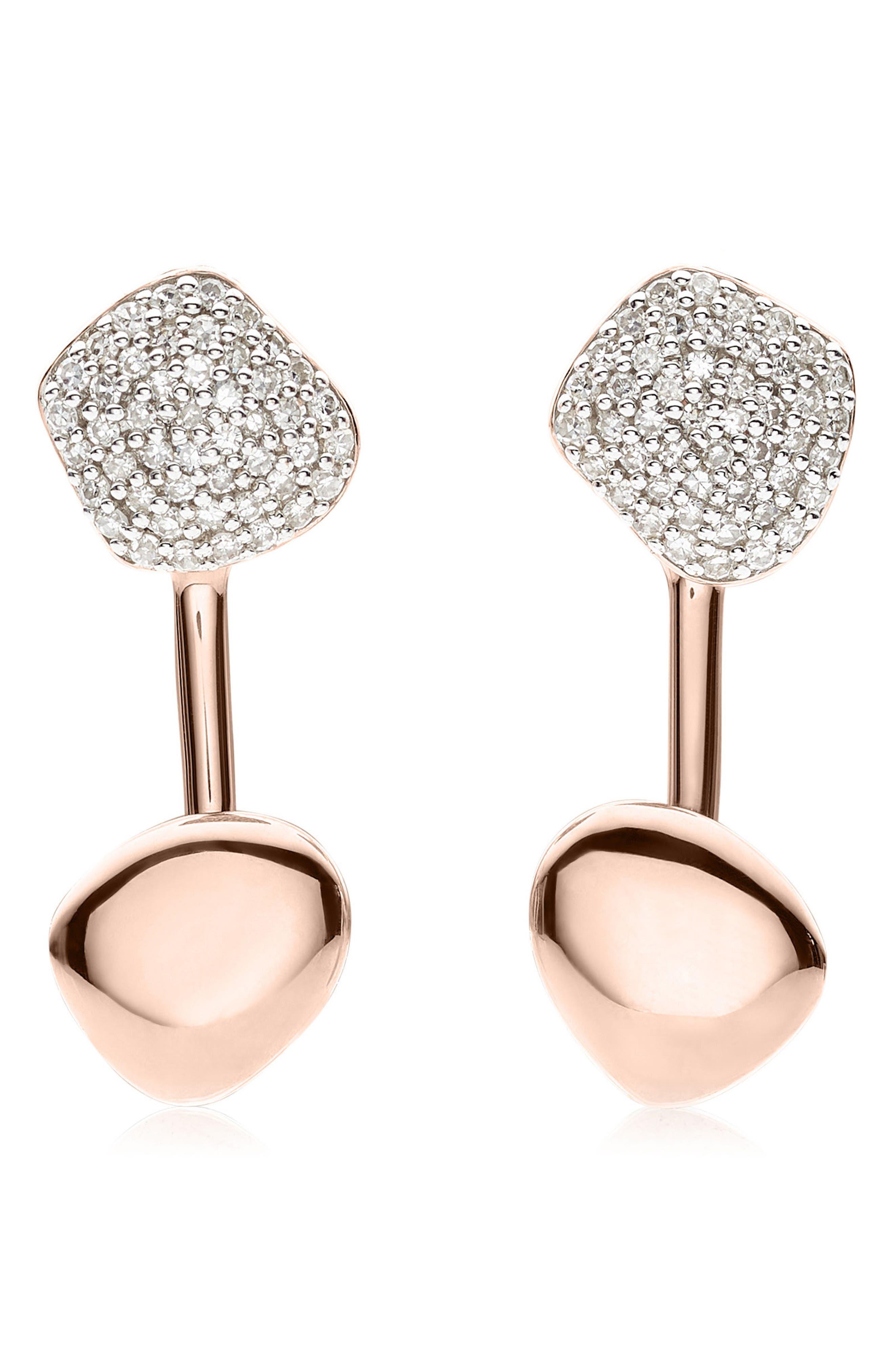 Nura Nugget Diamond Jacket Earrings,                         Main,                         color, Rose Gold
