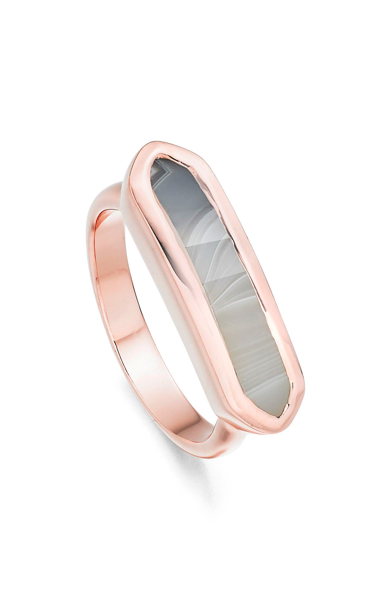 Baja Grey Agate Ring,                             Alternate thumbnail 4, color,                             Rose Gold/ Grey Agate