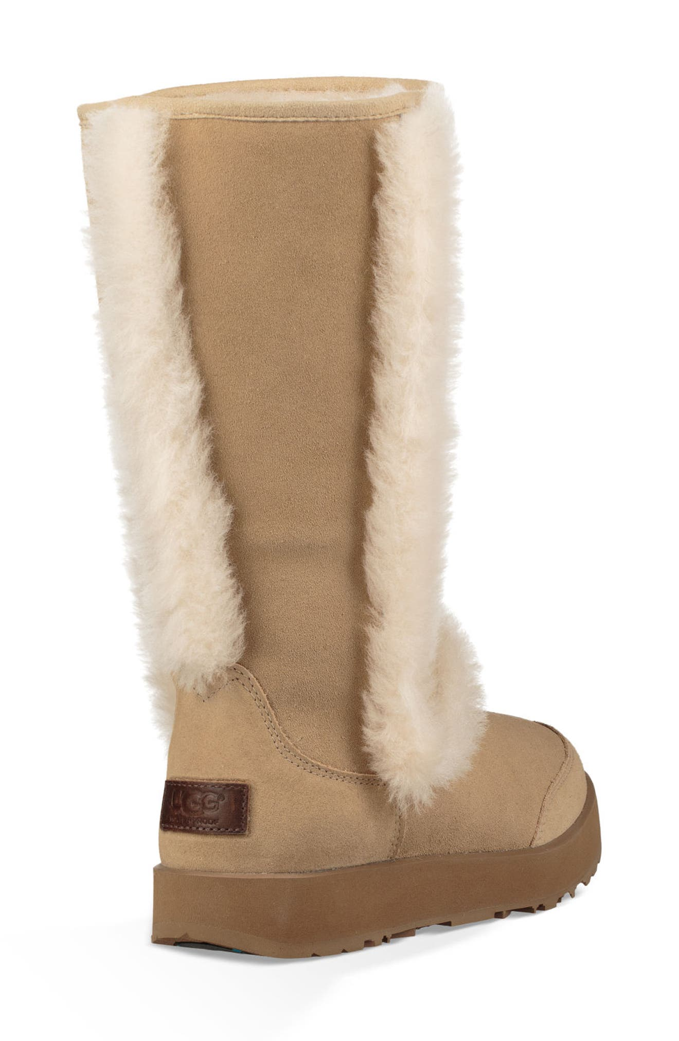 Sundance Genuine Shearling Waterproof Boot,                             Alternate thumbnail 2, color,                             Sand Suede