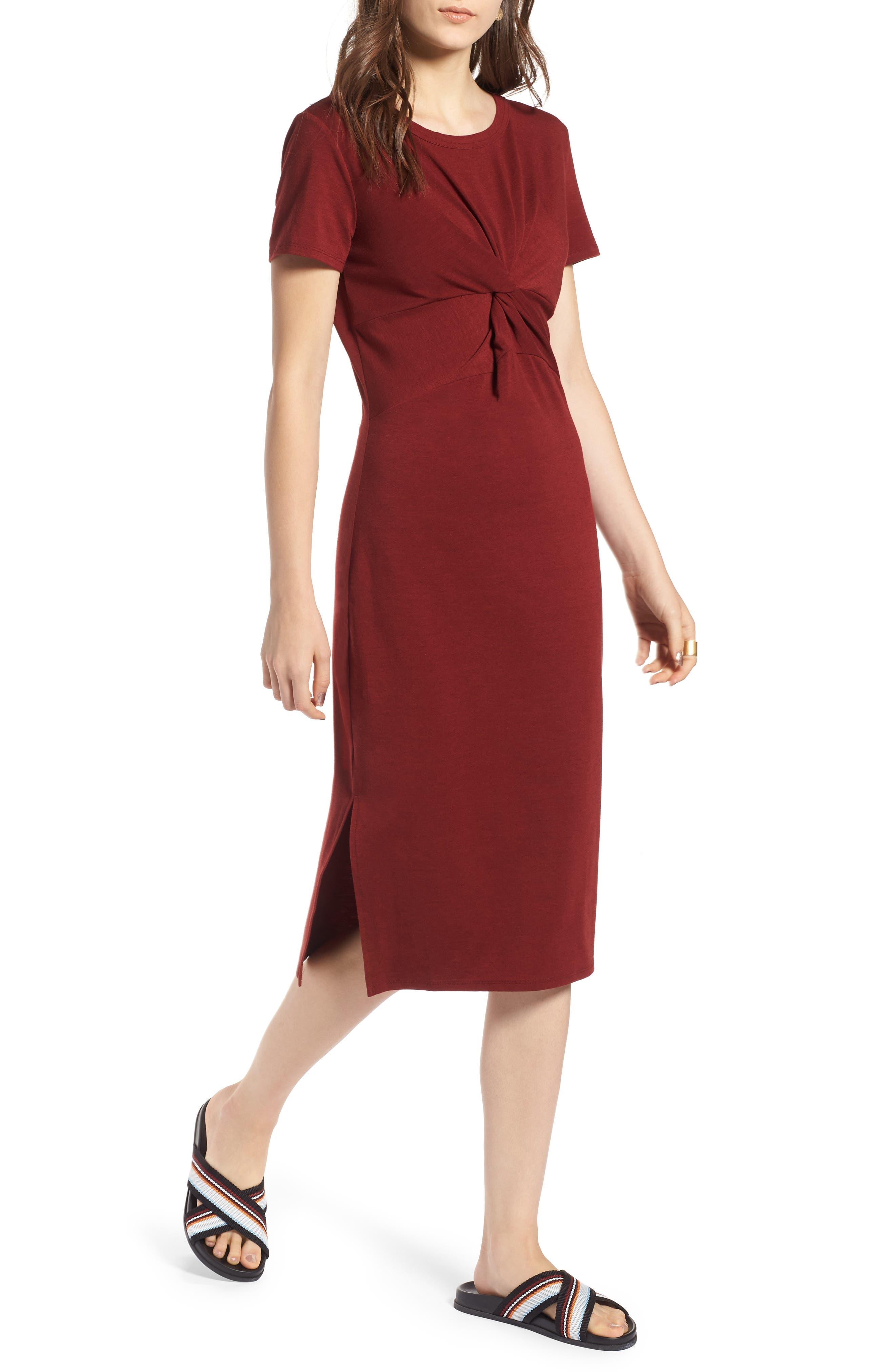 Twist Front Midi Dress,                             Main thumbnail 1, color,                             Red Syrah