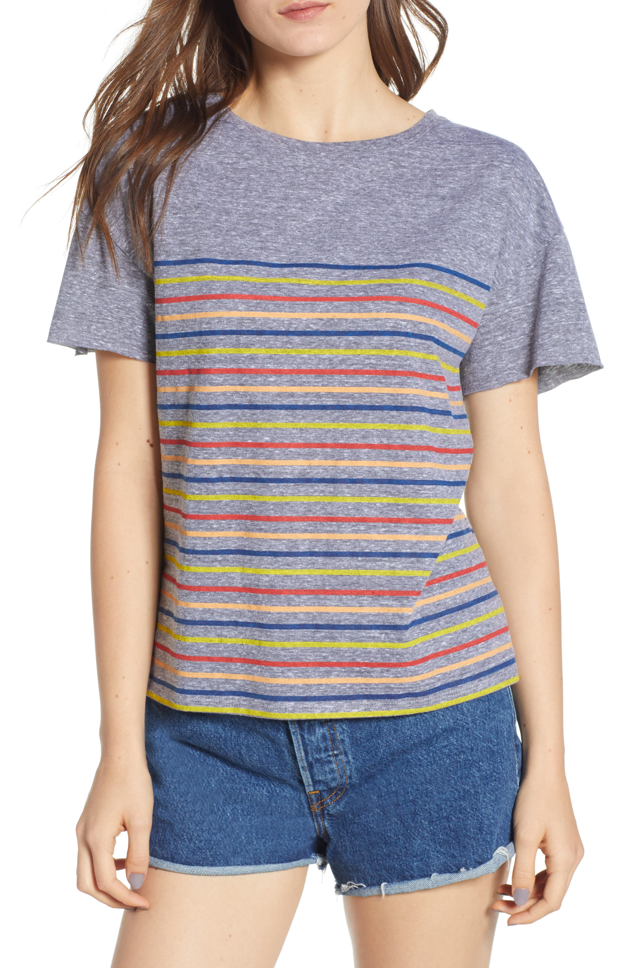 Placed Stripe Tee,                             Main thumbnail 1, color,                             Grey