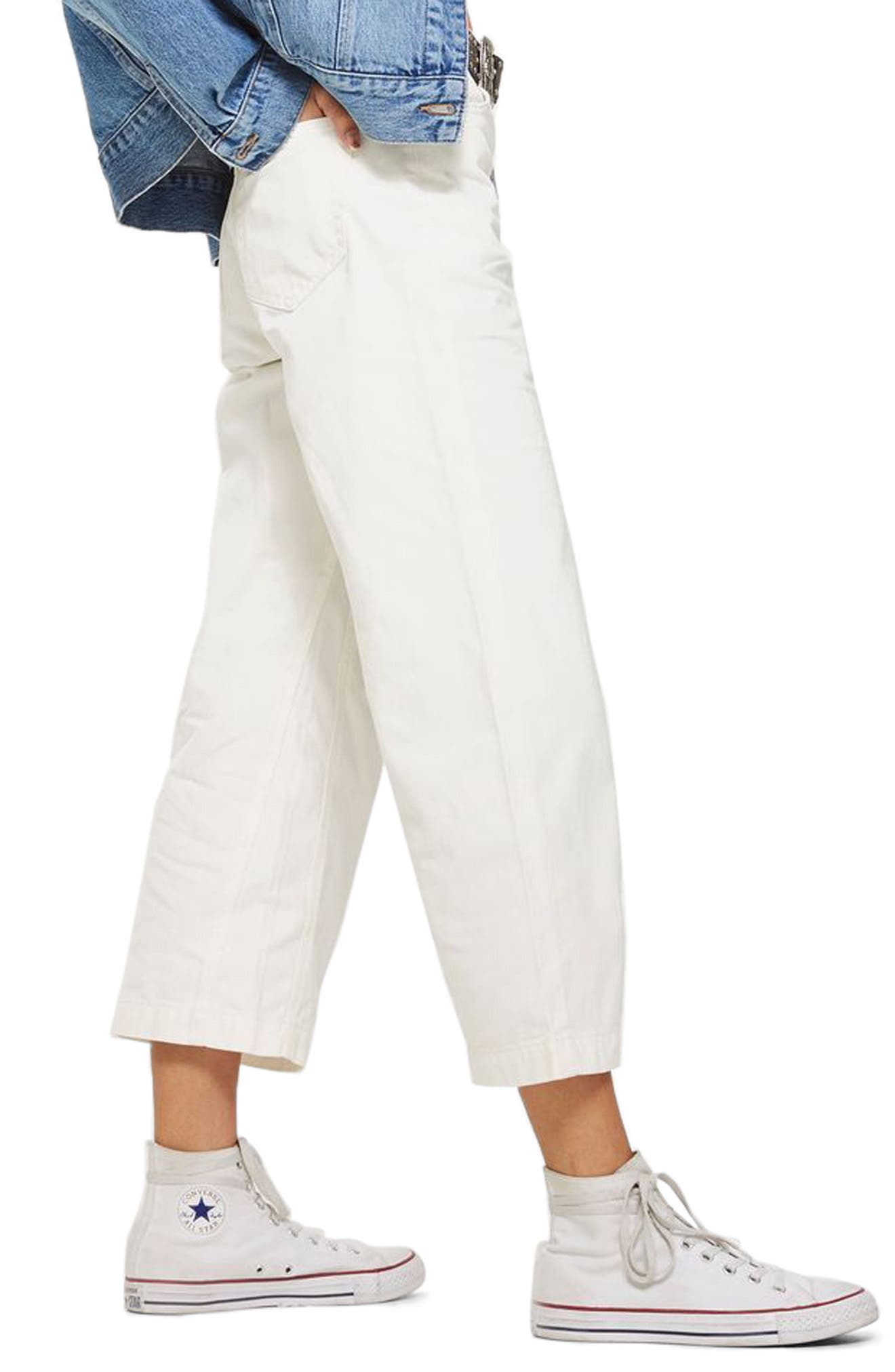 MOTO Cropped Wide Leg Non-Stretch Jeans,                             Alternate thumbnail 2, color,                             White