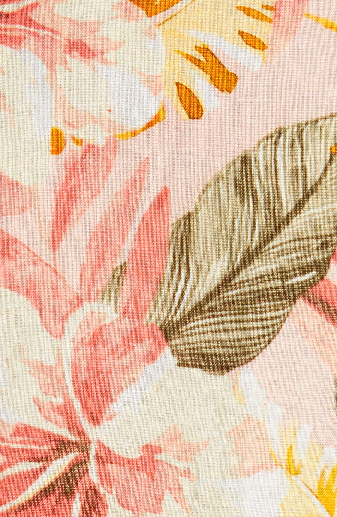 Jazbeth Floral Linen Top,                             Alternate thumbnail 5, color,                             Dusty Nude