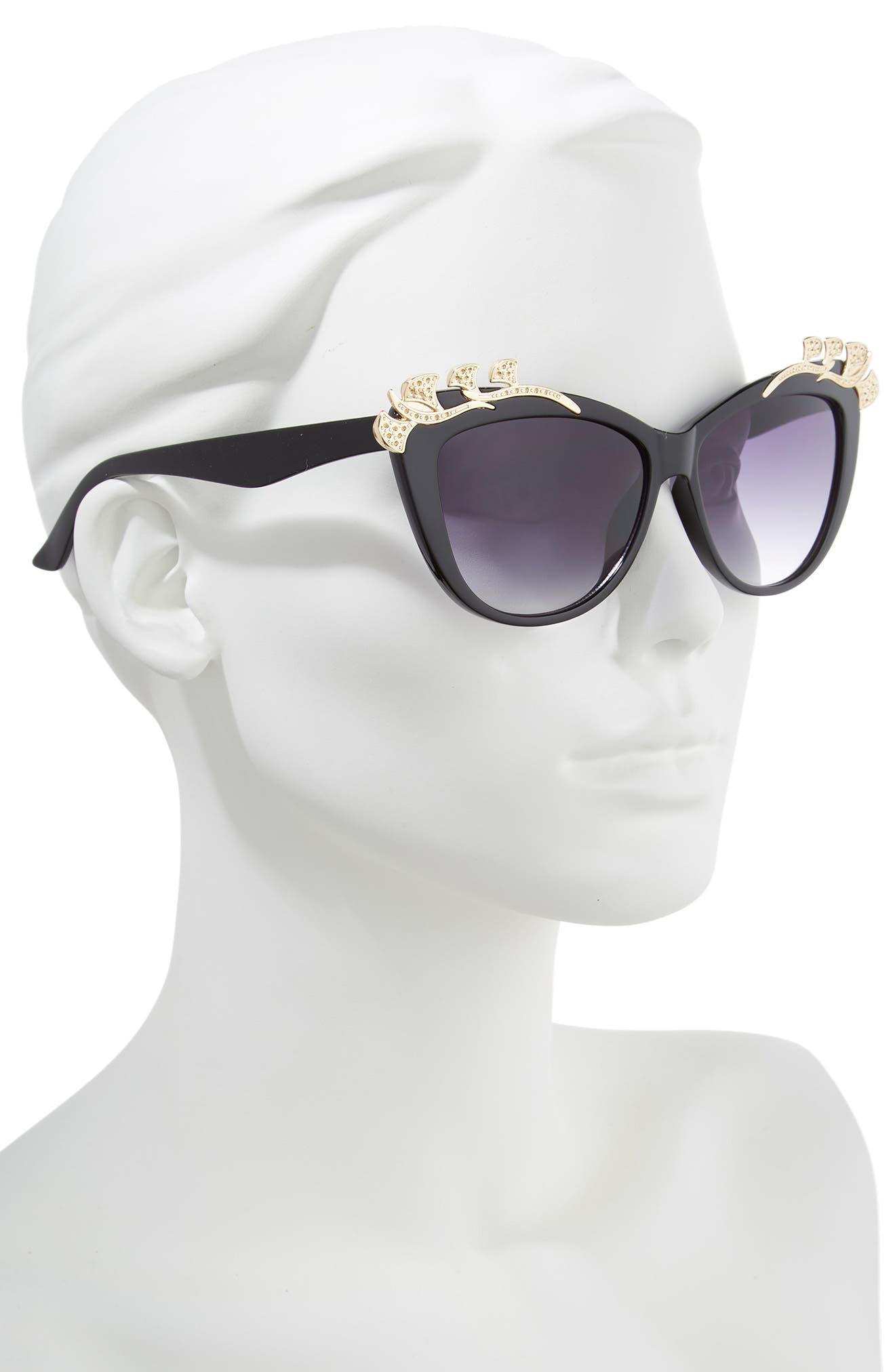 57mm Embellished Sunglasses,                             Alternate thumbnail 2, color,                             Black/ Gold