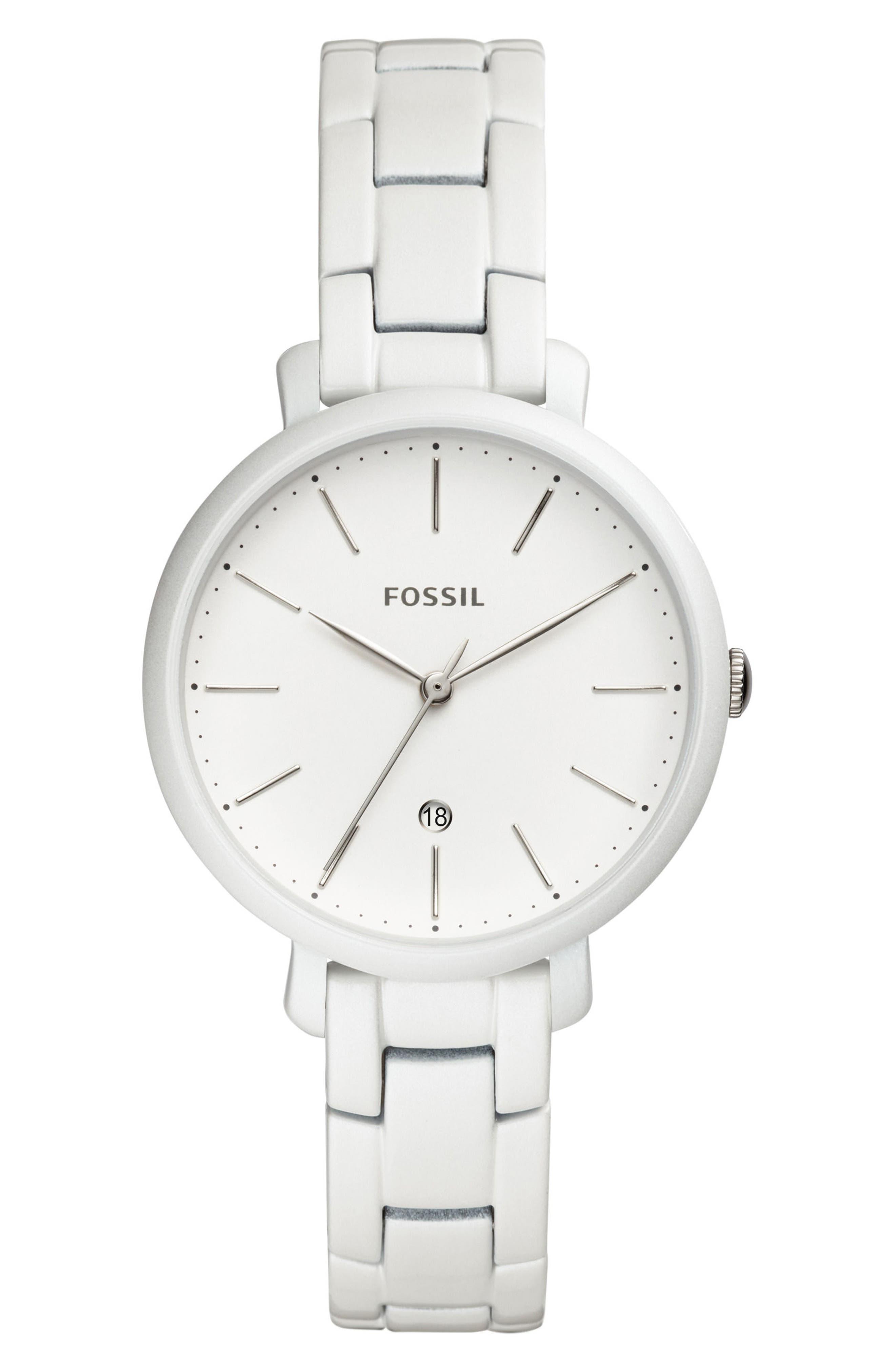 Jacqueline Bracelet Watch, 36mm,                             Main thumbnail 1, color,                             White/ White/ White
