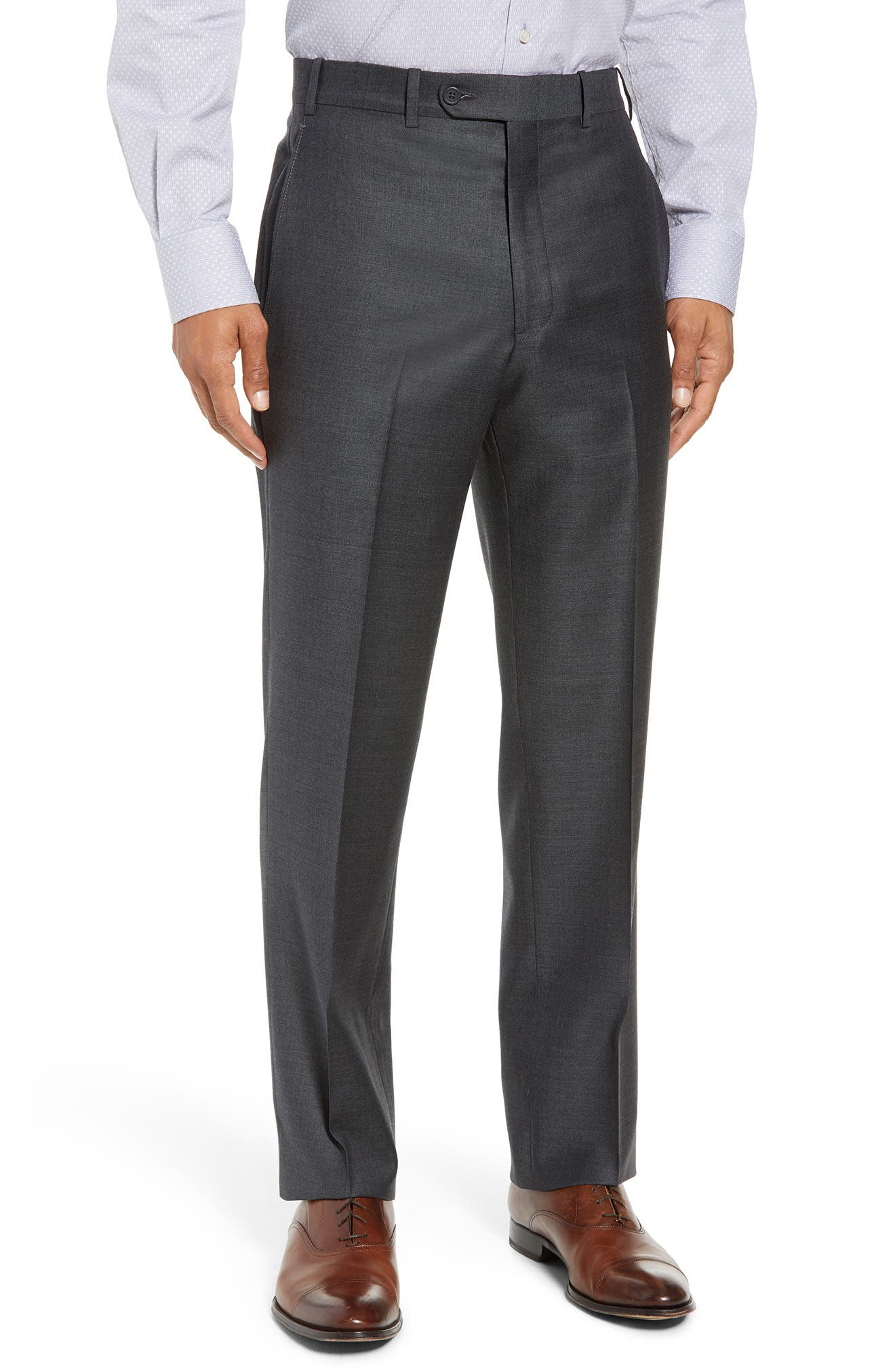 Torino Flat Front Solid Wool Trousers,                             Main thumbnail 1, color,                             Charcoal