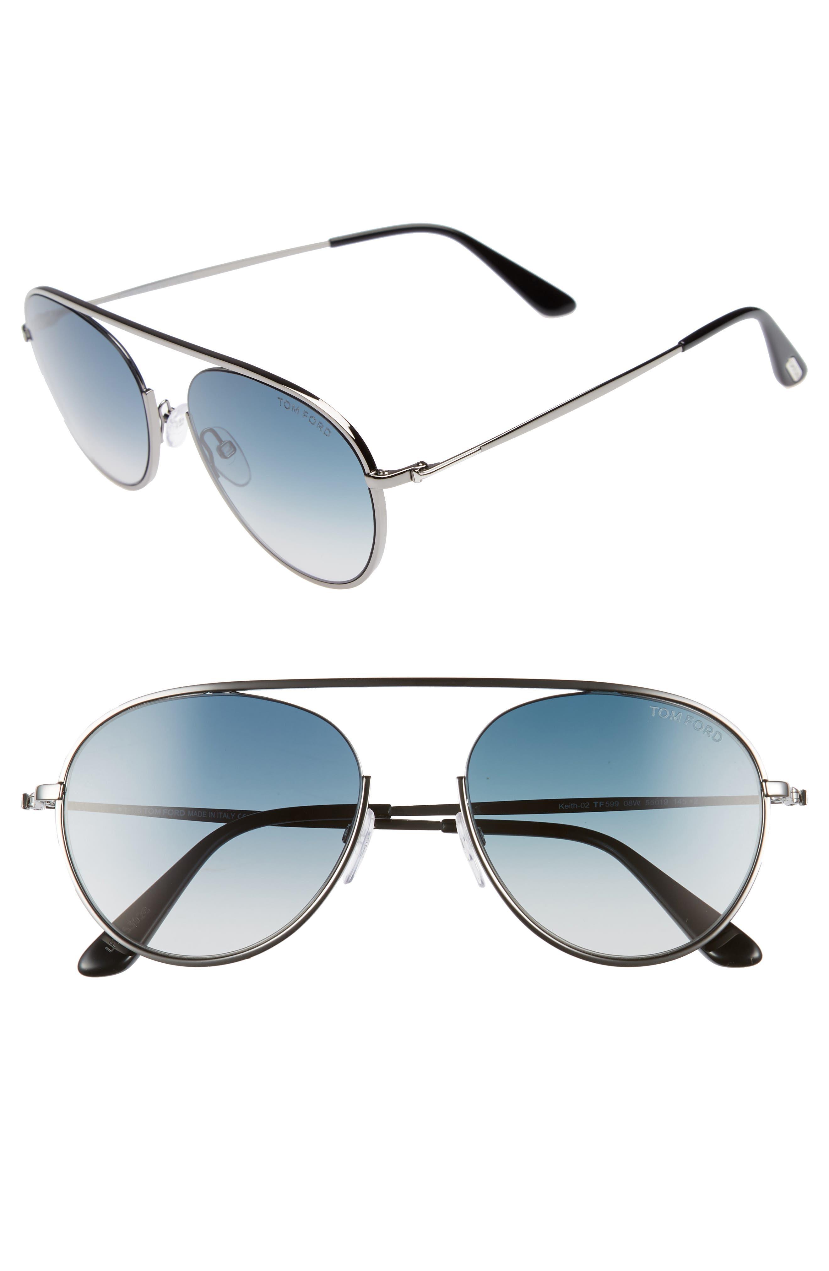 Keith 55mm Metal Aviator Sunglasses,                         Main,                         color, Shiny Gumetal/ Gradient Blue