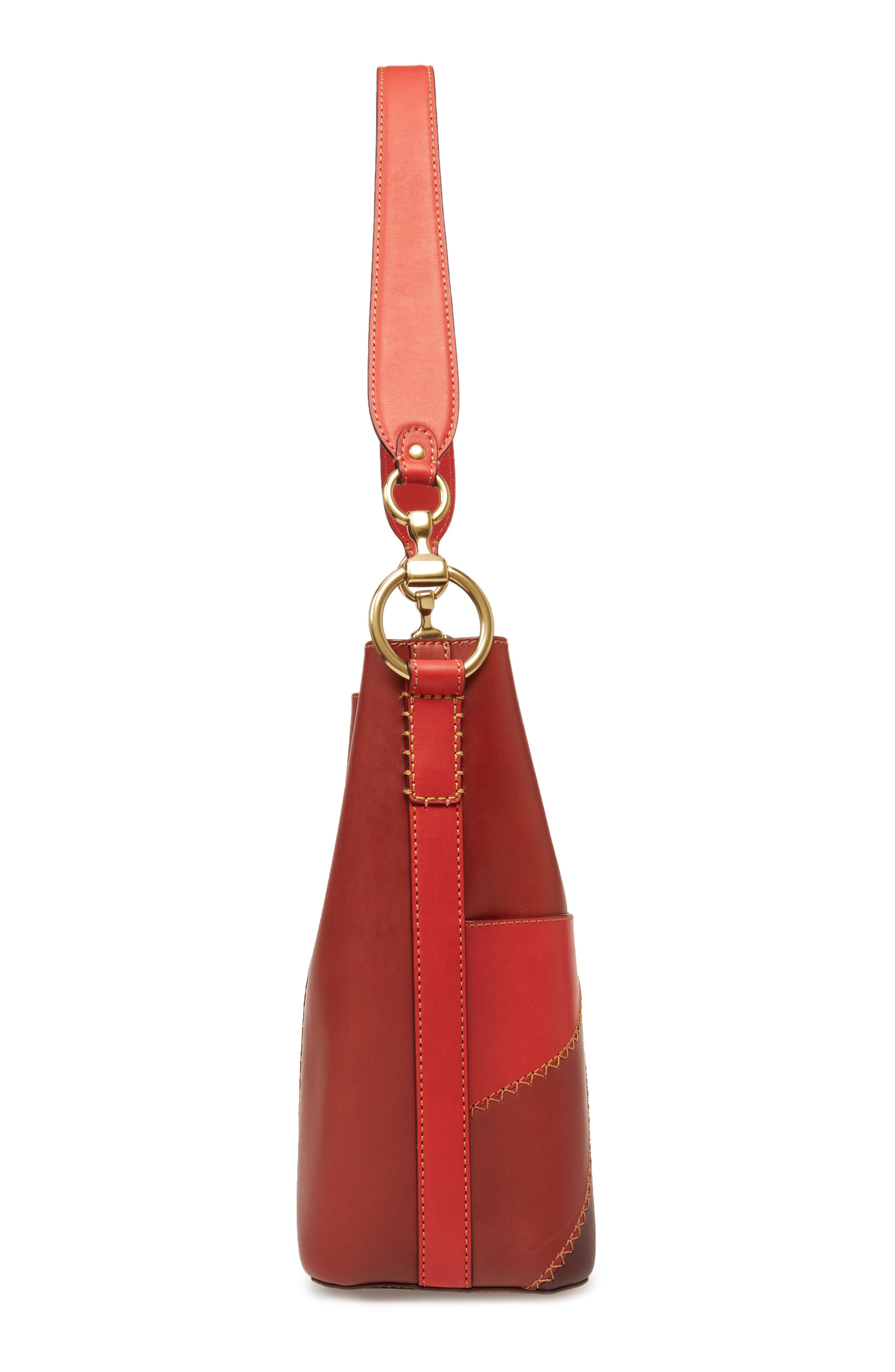 Ilana Colorblock Leather Bucket Hobo,                             Alternate thumbnail 5, color,                             Red Clay Multi