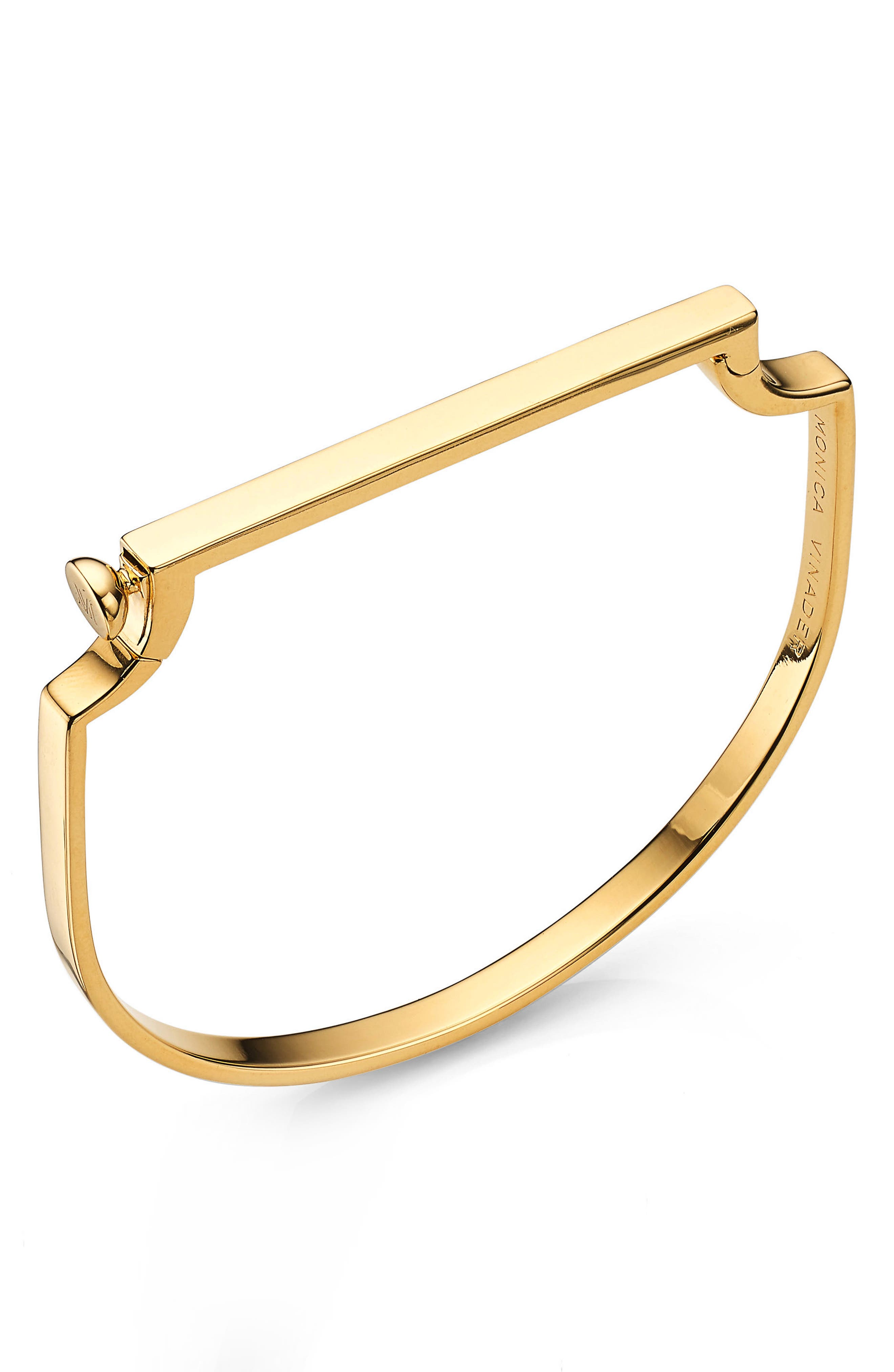 Signature Thin Bangle Bracelet,                             Main thumbnail 1, color,                             Yellow Gold